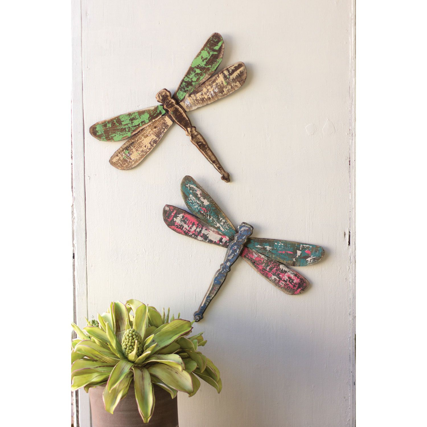 Kalalou Wooden Dragonfly Wall Art, Set Of Two   Things To For Dragonfly Wall Decor (Gallery 2 of 30)