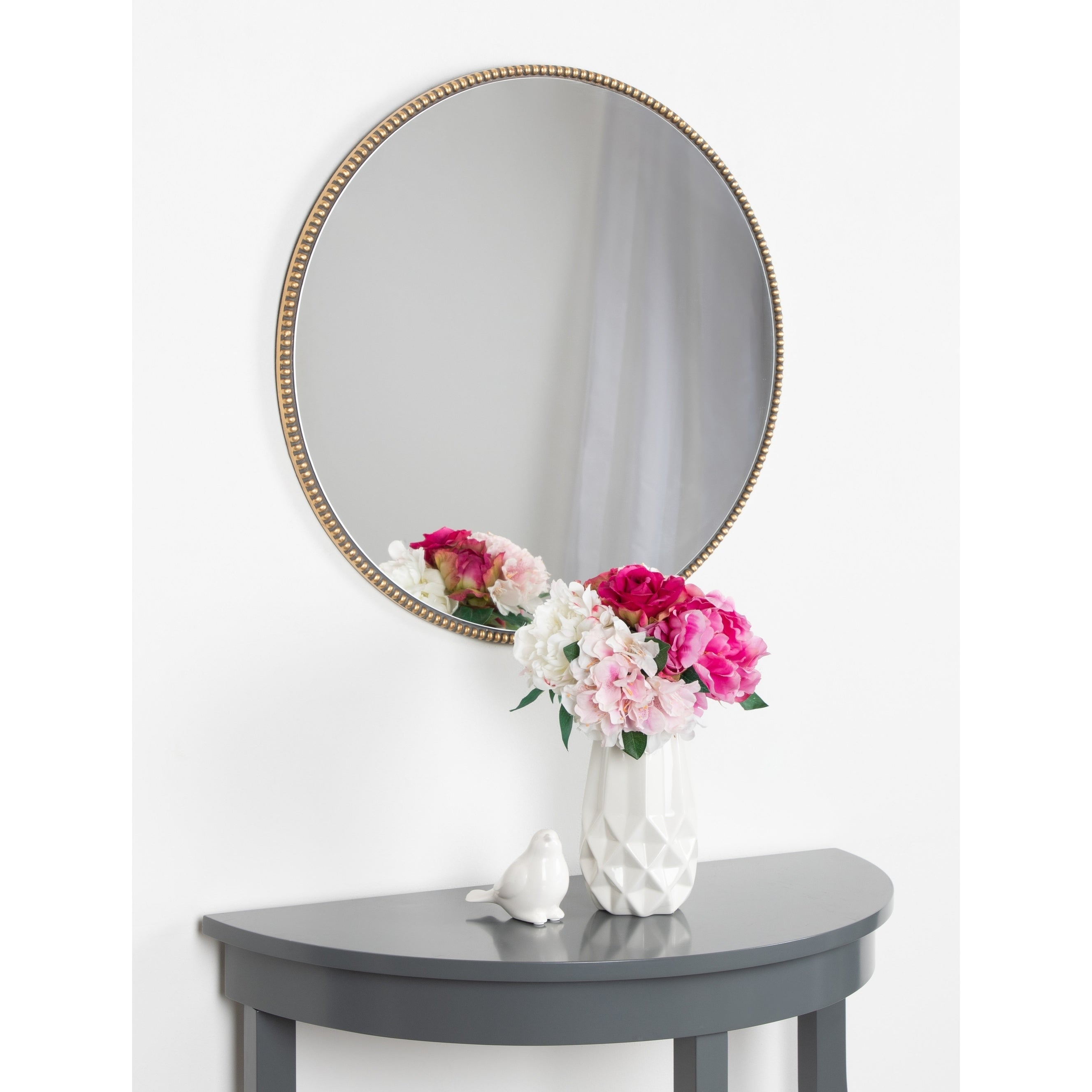 "Kate And Laurel Gwendolyn Round Beaded Accent Wall Mirror – Gold – 23.6""  Diameter Pertaining To Beaded Accent Wall Mirrors (Gallery 8 of 30)"