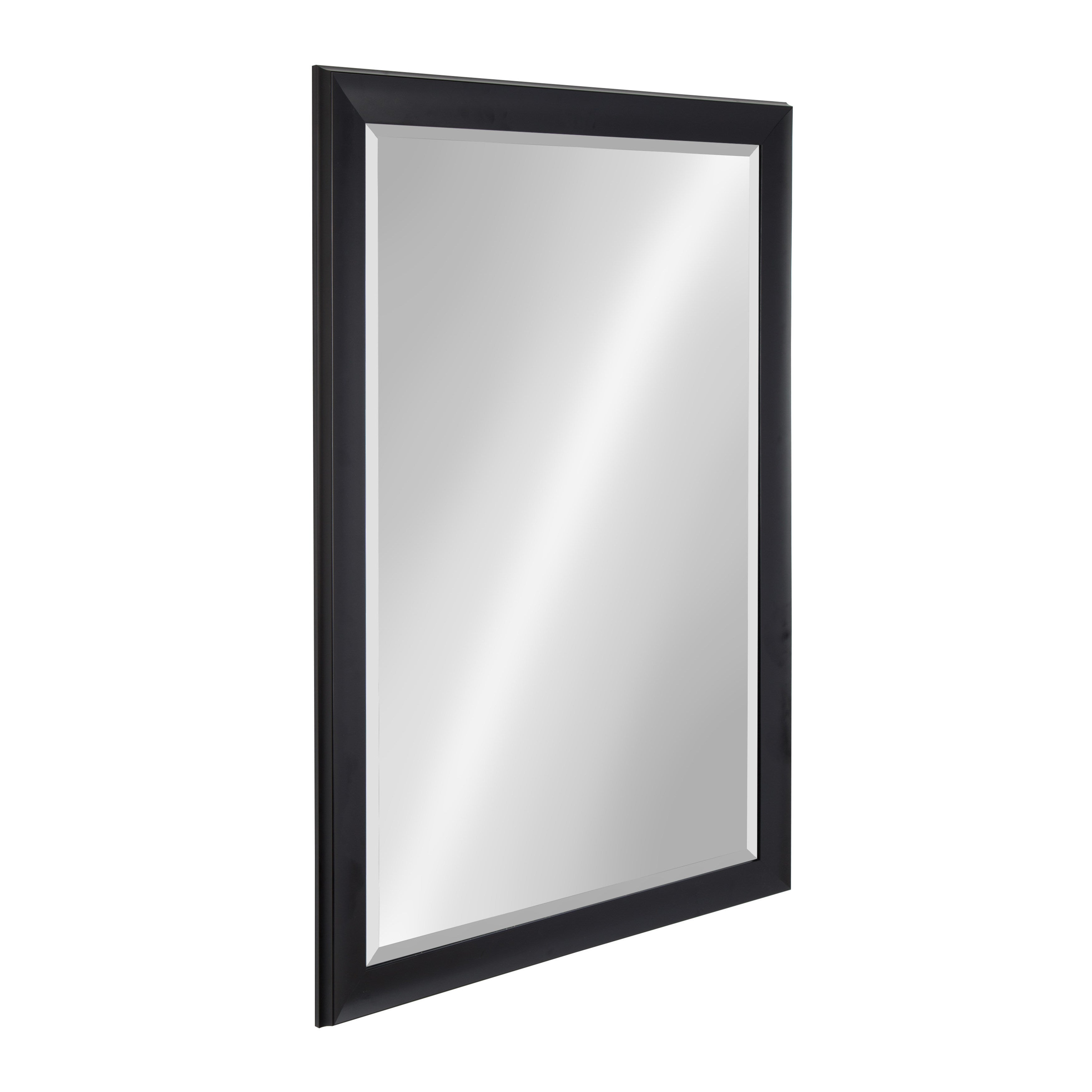 Kate And Laurel Scoop Black Framed Beveled Wall Mirror For Alie Traditional Beveled Distressed Accent Mirrors (Image 21 of 30)
