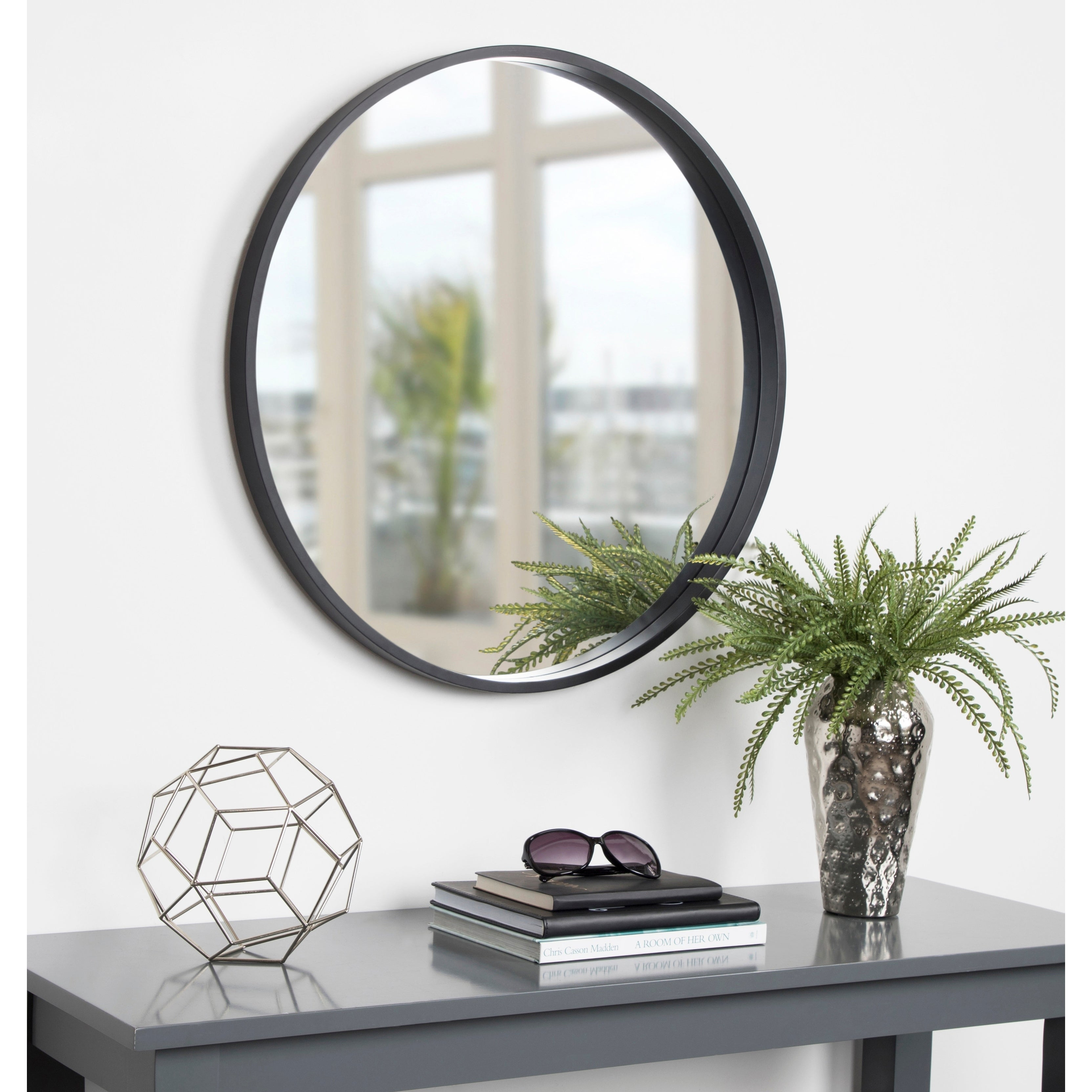 """Kate And Laurel Travis Round Wood Accent Wall Mirror, 25.6"""" Diameter, Gold In Wood Accent Mirrors (Photo 8 of 30)"""