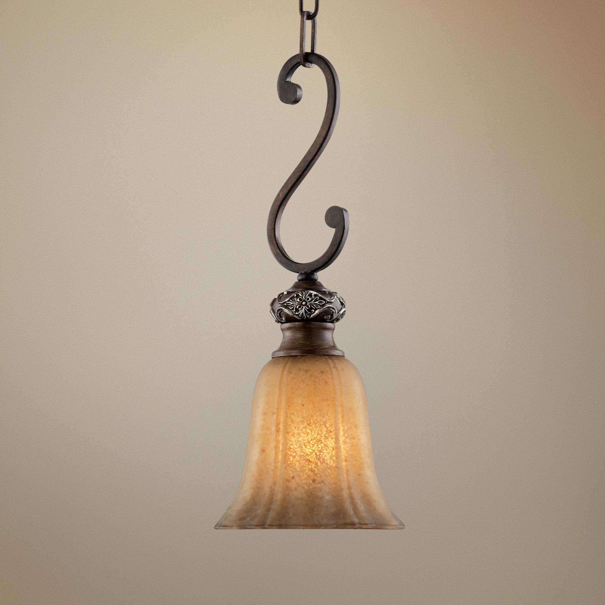 Kathy Ireland Sterling Estate Mini Pendant Light   #r4856 Regarding Grullon Scroll 1 Light Single Bell Pendants (Photo 13 of 30)