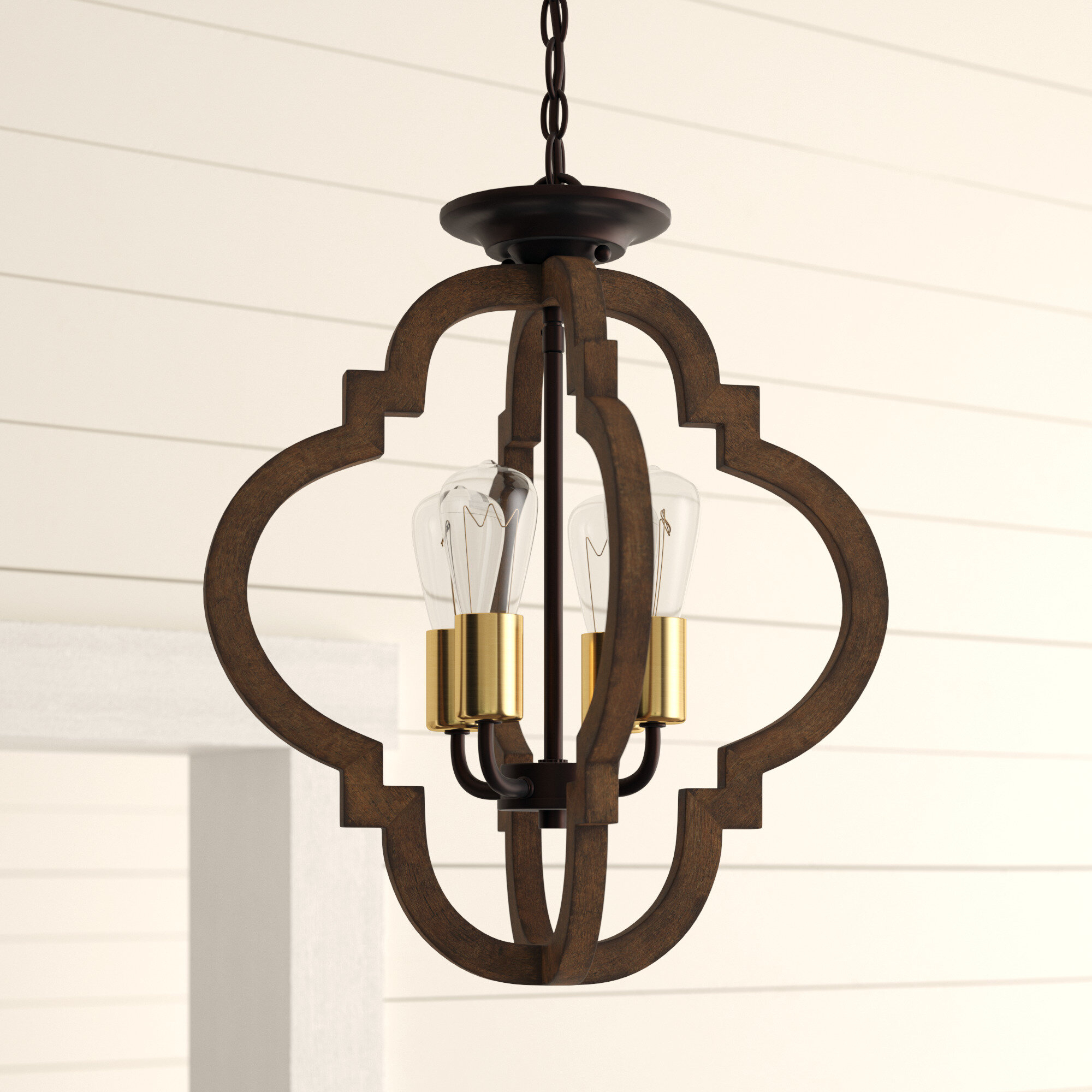 Kaycee 4 Light Geometric Chandelier Regarding Bennington 4 Light Candle Style Chandeliers (View 16 of 30)