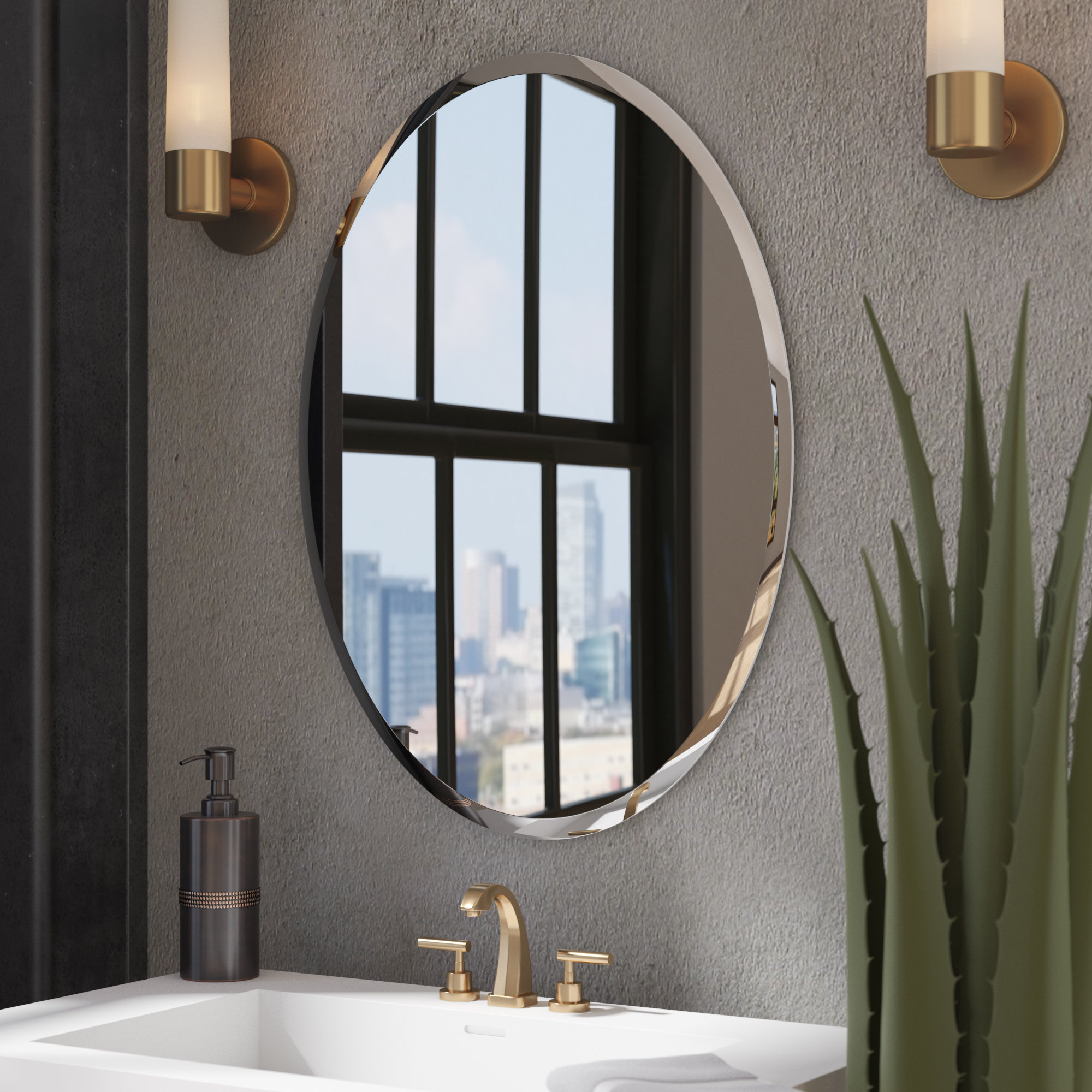 Kayden Bathroom Mirror within Estefania Frameless Wall Mirrors (Image 16 of 30)