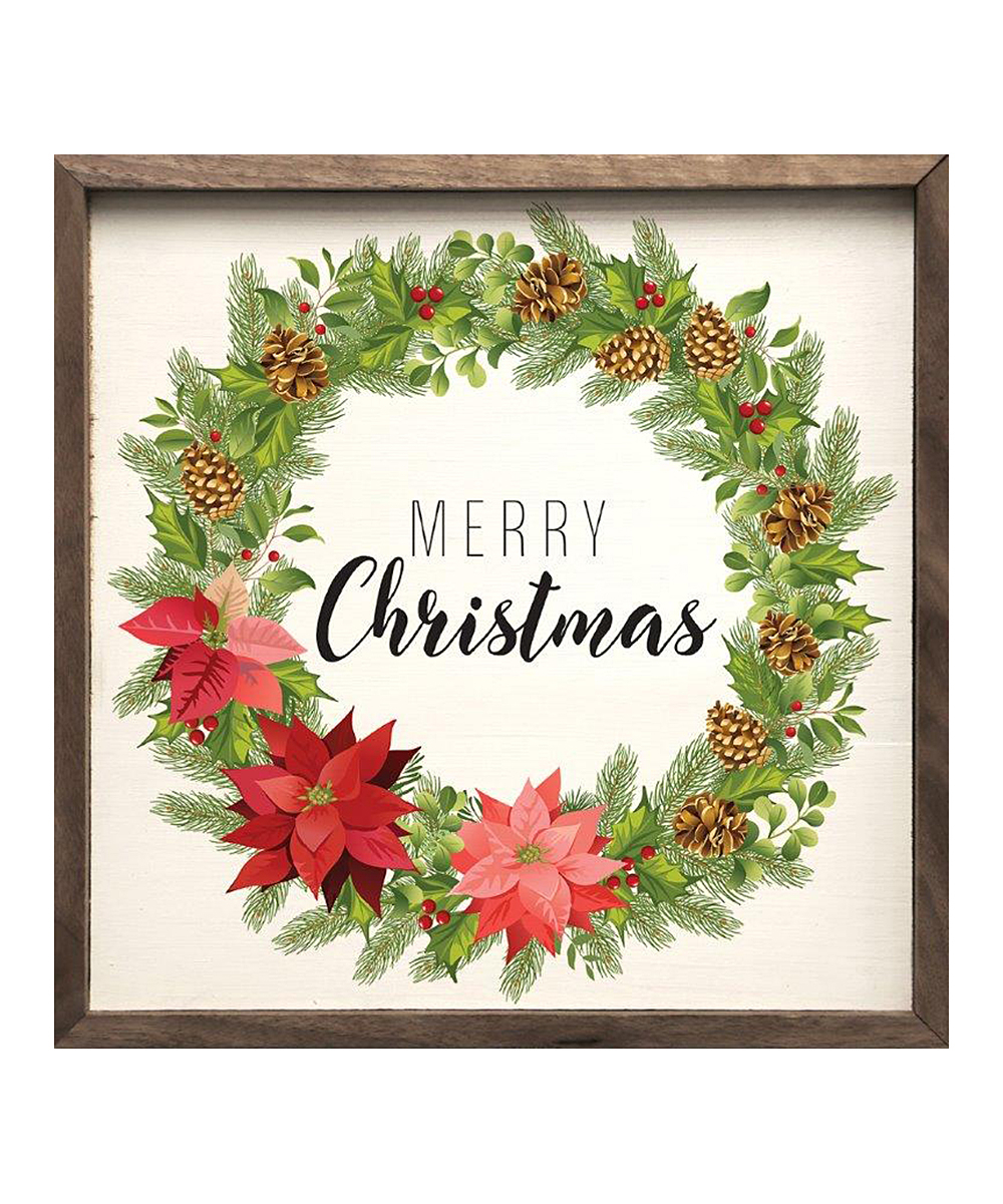Kendrick Home 'merry Christmas Wreath' Framed Wall Art For Floral Wreath Wood Framed Wall Decor (Photo 28 of 30)