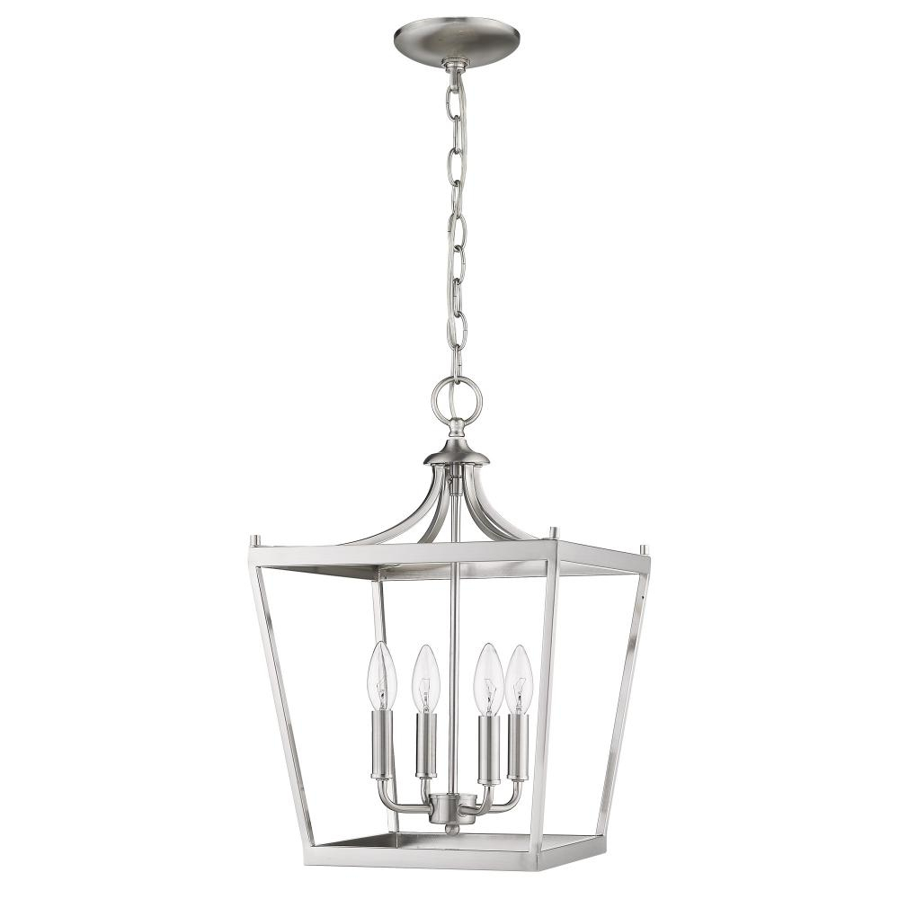 Kennedy 4 Light Satin Nickel Chandelier : In11133sn | Fan In Kenedy 9 Light Candle Style Chandeliers (View 24 of 30)