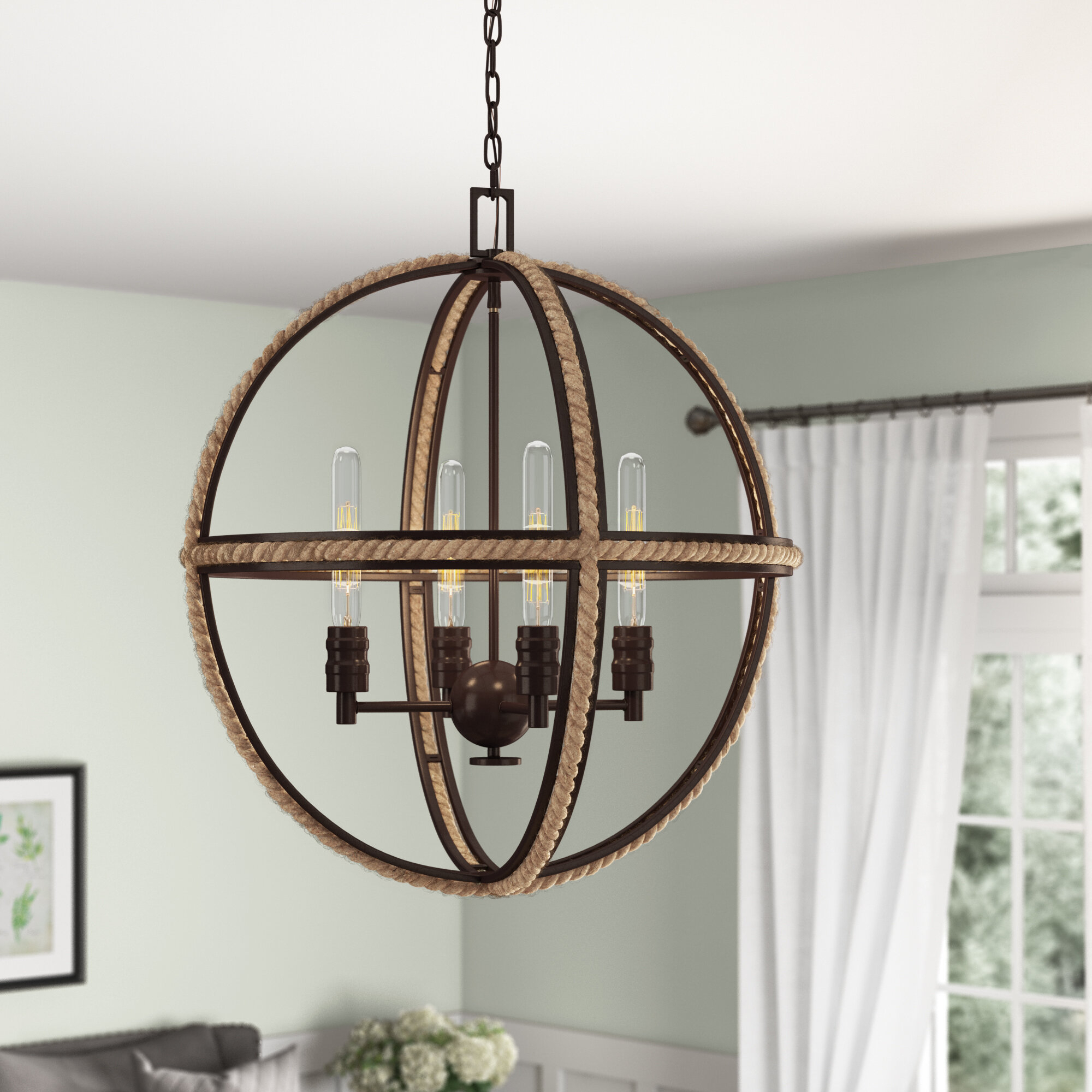 Kennett 4 Light Globe Chandelier With Regard To Filipe Globe Chandeliers (Photo 7 of 30)