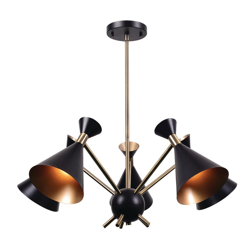 Kenroy Home Arne 5 Light Black Chandelier With Black Shade With Blanchette 5 Light Candle Style Chandeliers (Photo 29 of 30)