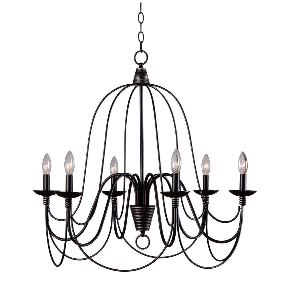 Kenroy Home Pannier 6-Light Oil-Rubbed Bronze With Silver in Watford 6-Light Candle Style Chandeliers (Image 15 of 30)
