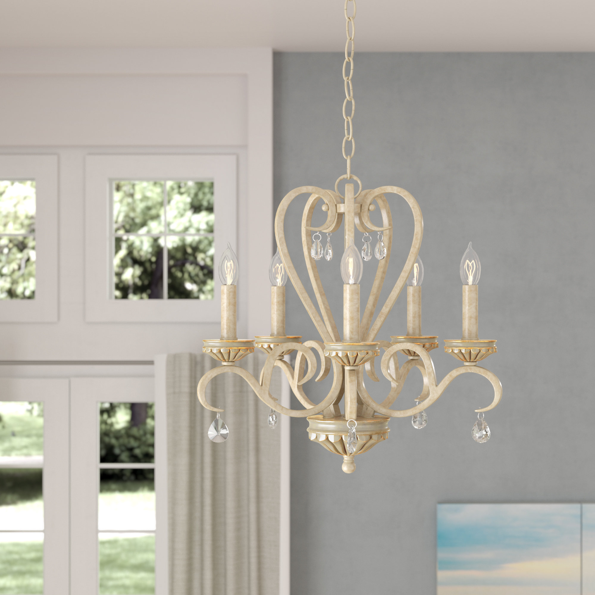 Khaled 5 Light Candle Style Chandelier Intended For Oriana 4 Light Single Geometric Chandeliers (Photo 11 of 30)
