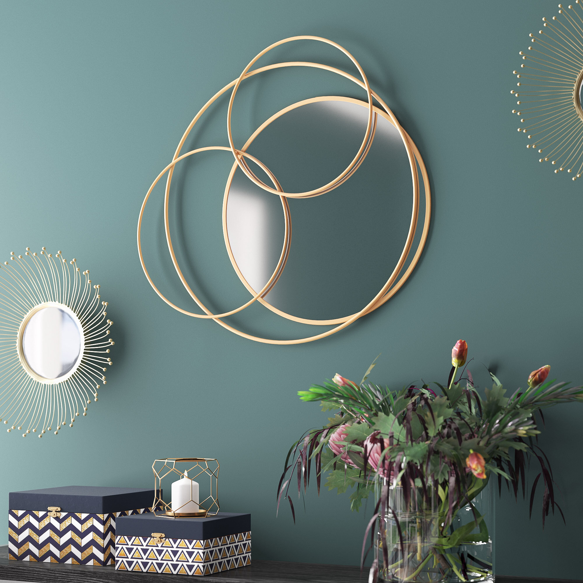Khloe Layered Wall Mounted Mirror With Regard To Rings Wall Decor By Wrought Studio (Gallery 24 of 30)