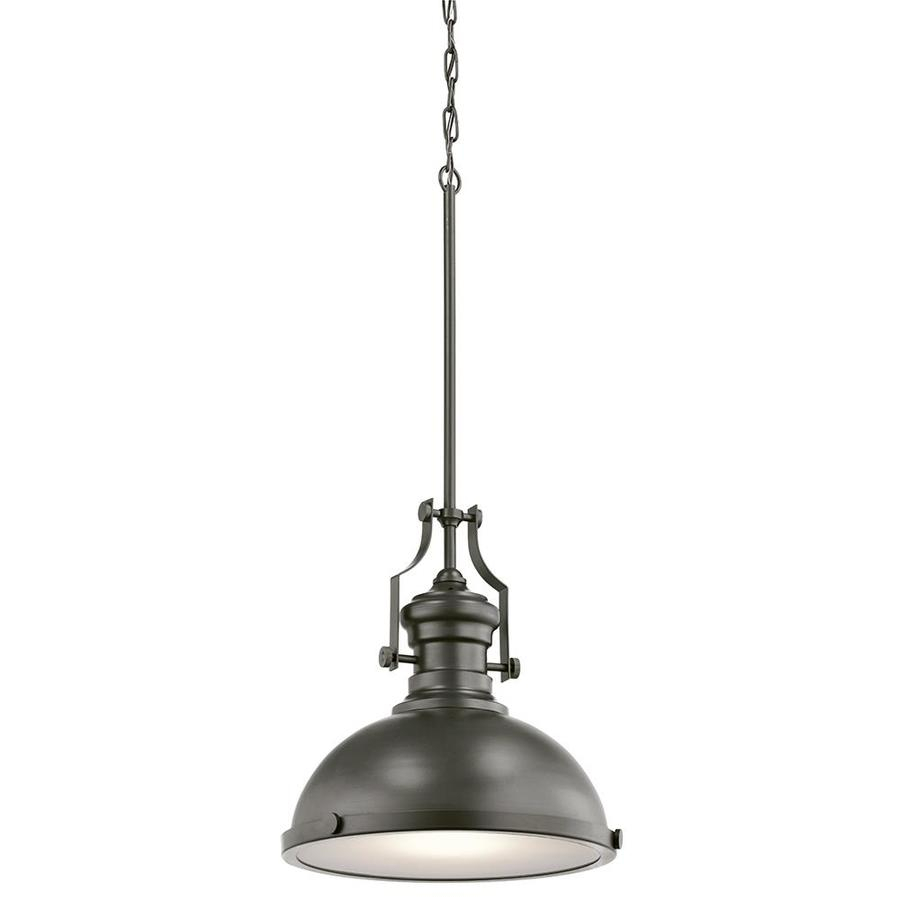 Kichler 12.2 In Bronze Barn Hardwired Single Etched Glass Dome Pendant Pertaining To Hamilton 1 Light Single Dome Pendants (Photo 29 of 30)