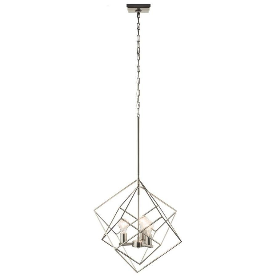 Kichler 19.62 In Brushed Nickel Industrial Single Cage Intended For Hurst 1 Light Single Cylinder Pendants (Photo 16 of 30)