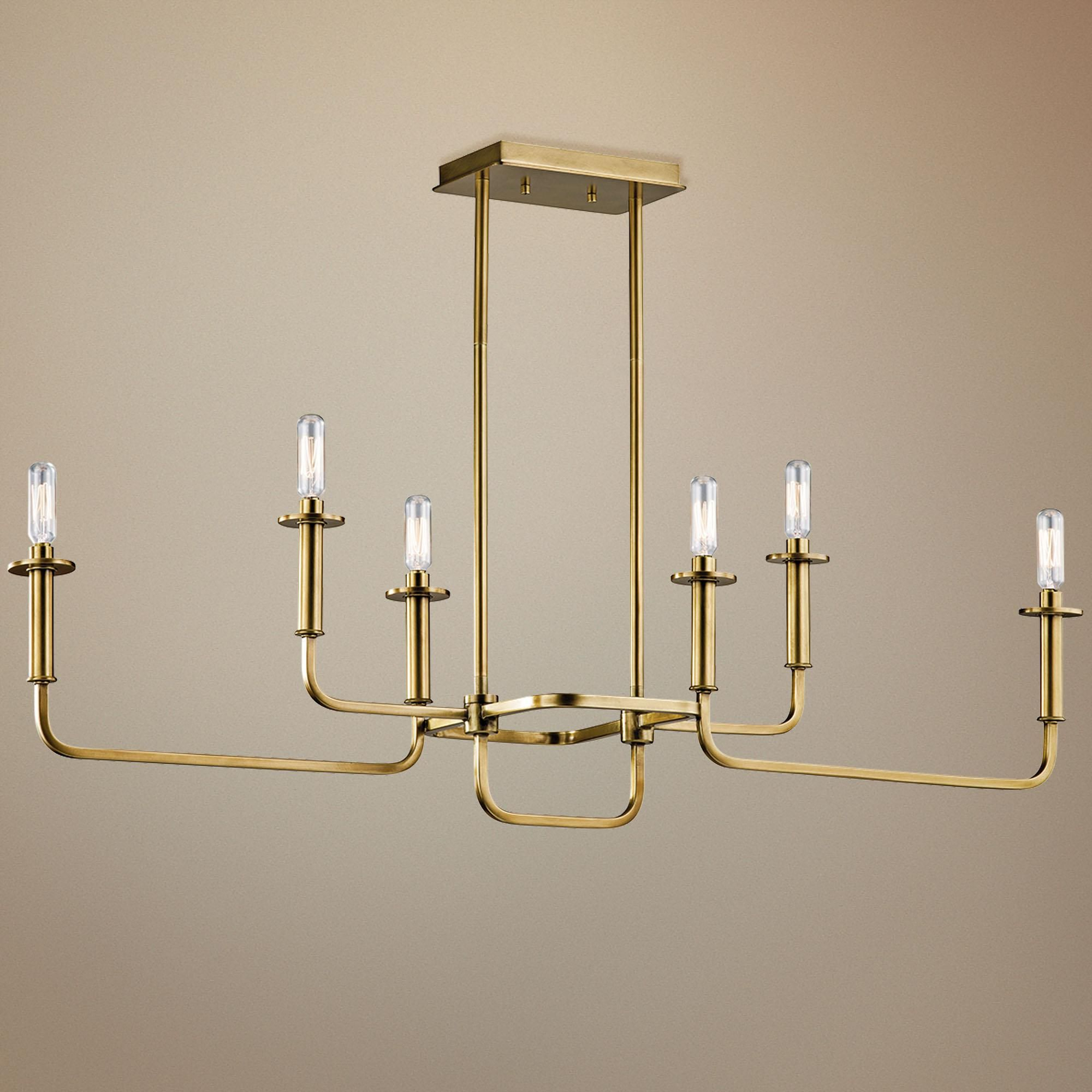 "Kichler Alden 38 1/2""w Brass 6 Light Linear Chandelier With Regard To Alden 6 Light Globe Chandeliers (Gallery 28 of 30)"