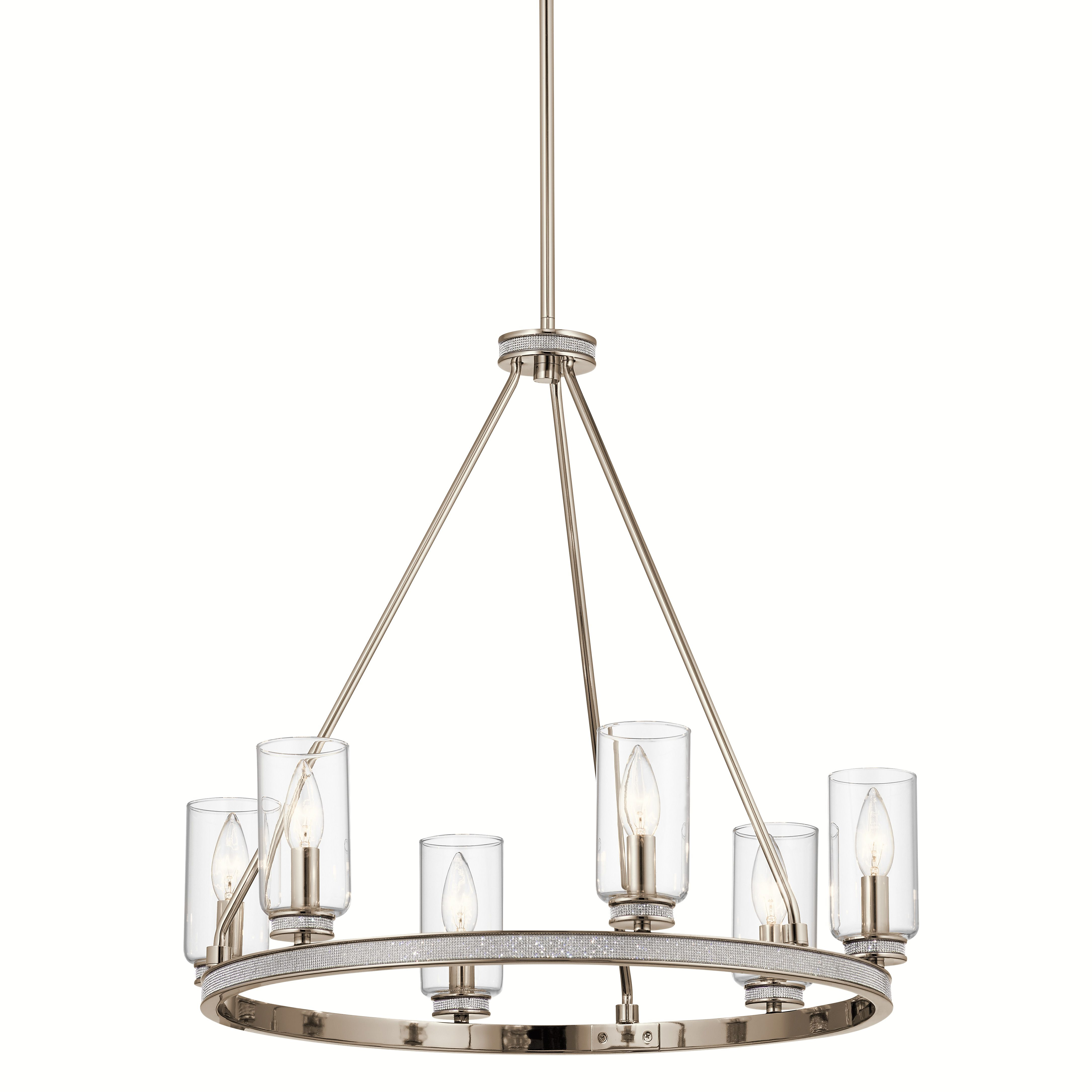 Kichler Angelica 6 Light Polished Nickel With Glass Accents In Angelina 1 Light Single Cylinder Pendants (Photo 29 of 30)
