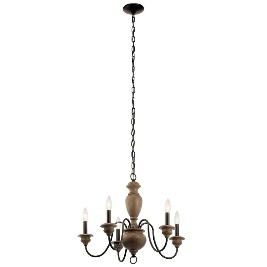 Kichler Beulah 5 Light Olde Bronze And Wood Tone Farmhouse Intended For Diaz 6 Light Candle Style Chandeliers (Gallery 26 of 30)