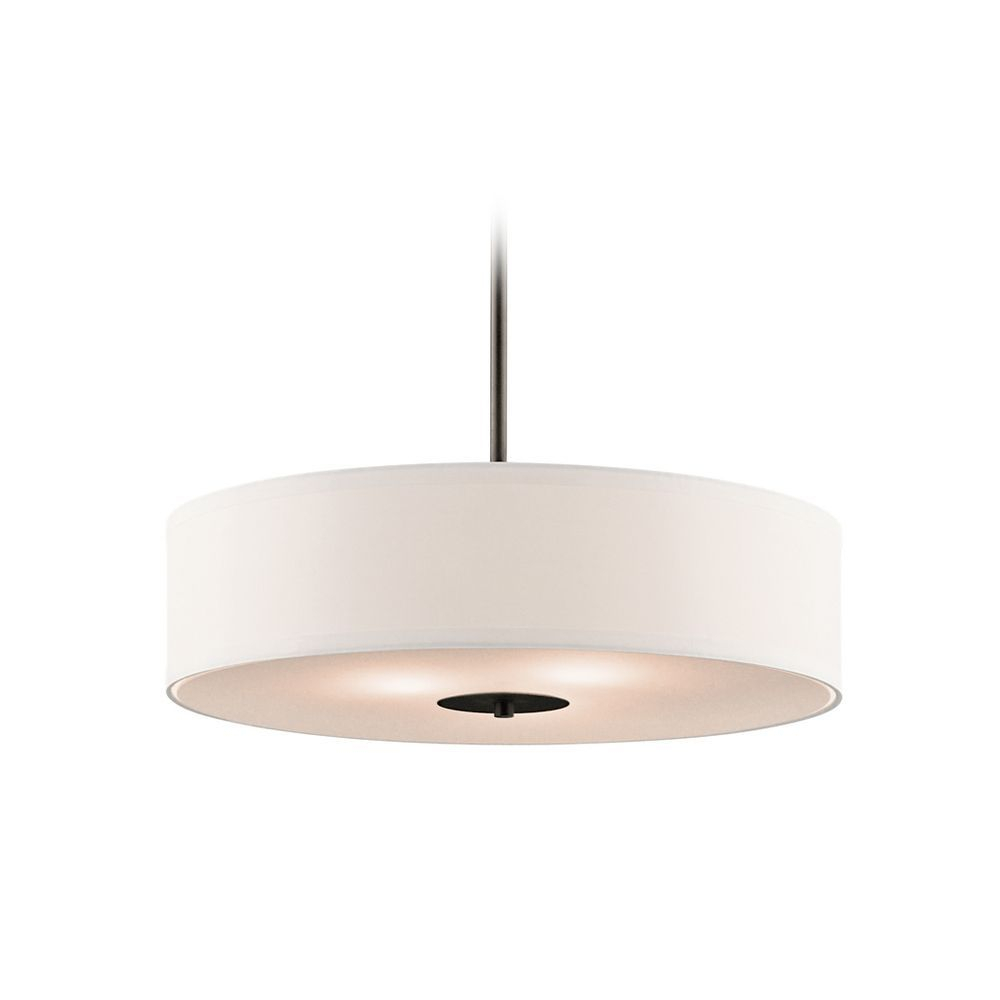 Kichler Drum Pendant Light With White Shade In Olde Bronze Intended For Alina 5 Light Drum Chandeliers (Gallery 26 of 30)