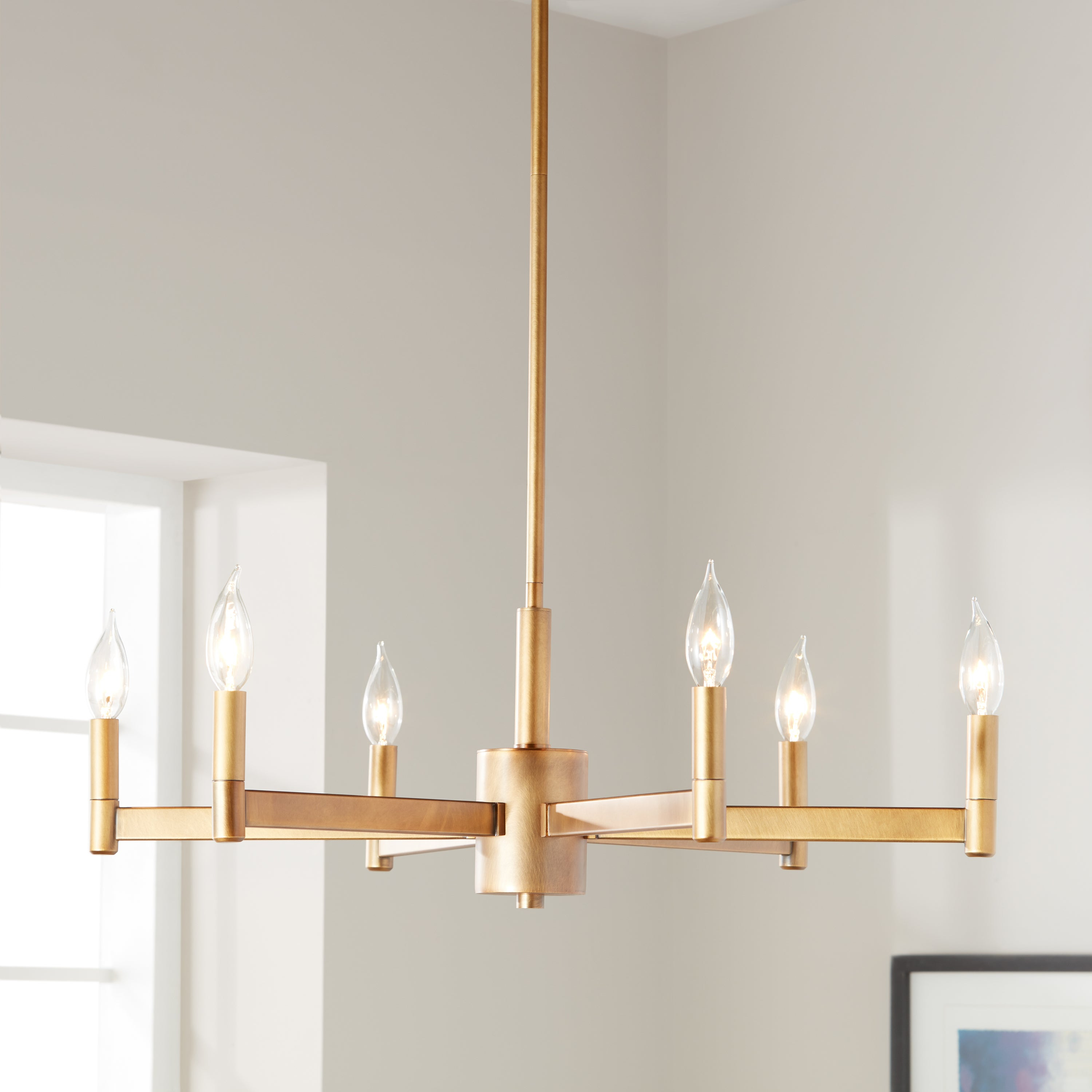 Kichler Lighting Erzo Collection 6-Light Natural Brass Chandelier within Alden 6-Light Globe Chandeliers (Image 26 of 30)