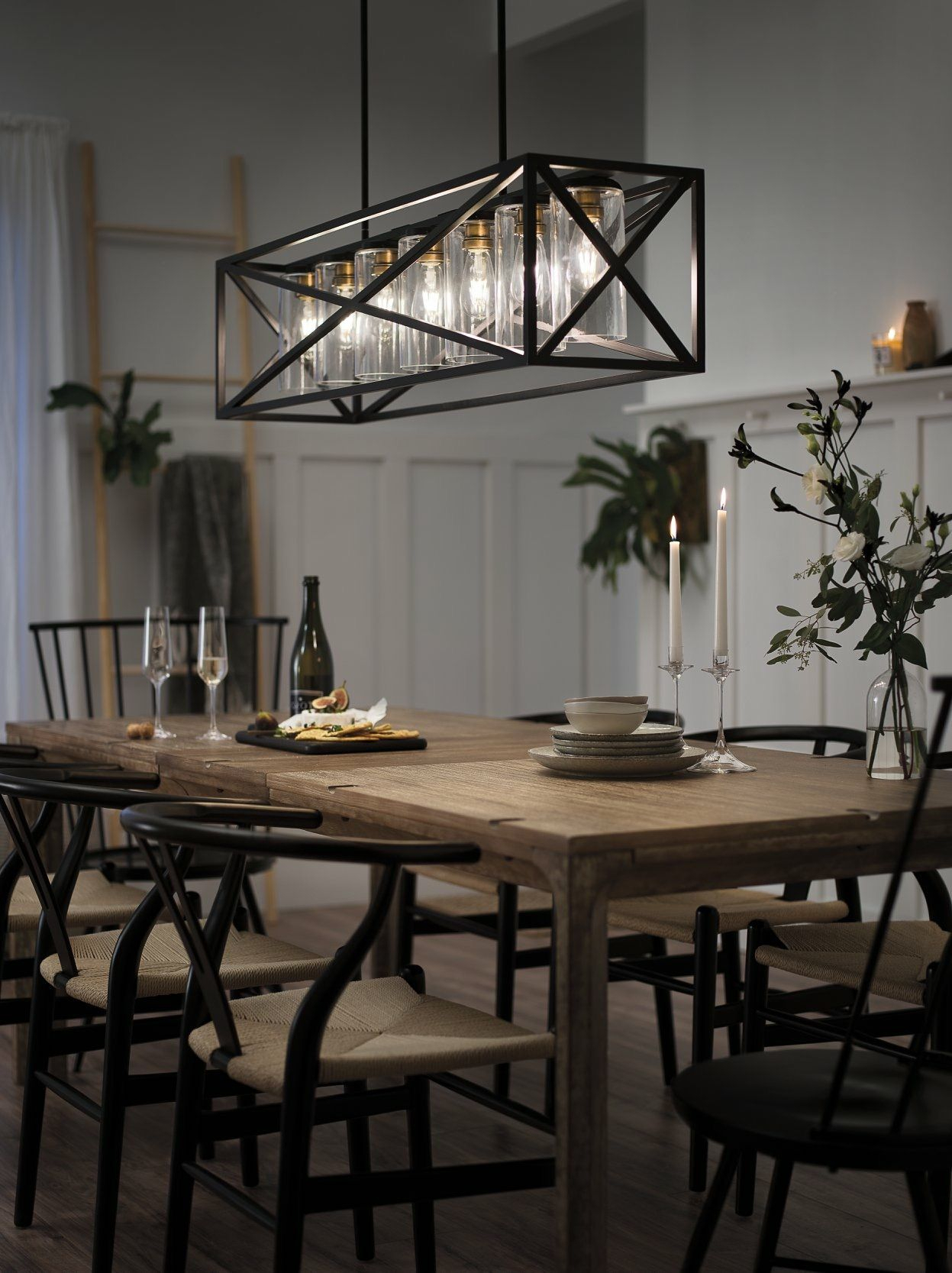 Kichler Linear Chandelier In Dining Room | Lighting Throughout Freemont 5 Light Kitchen Island Linear Chandeliers (View 11 of 30)