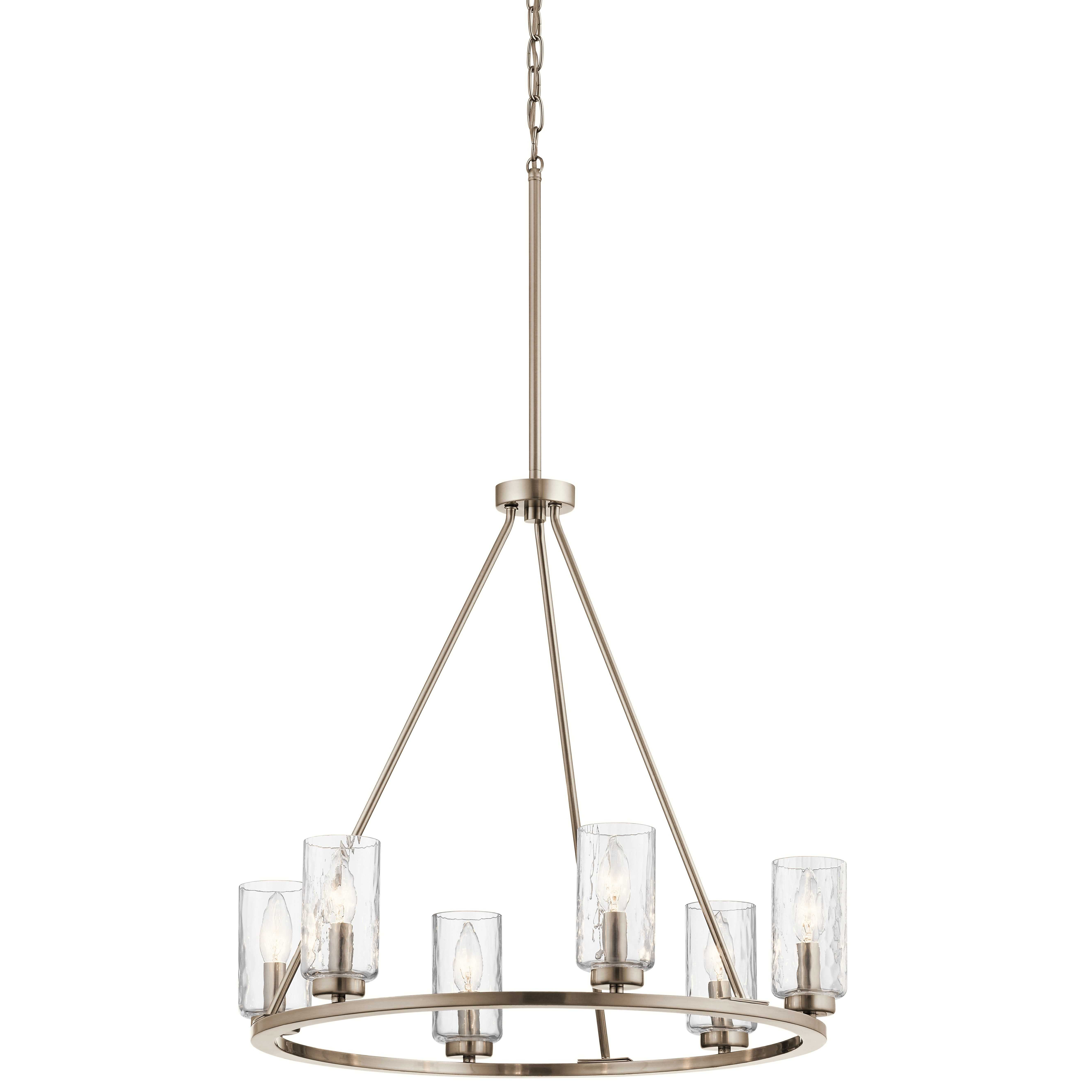 Kichler Marita 6 Light Brushed Nickel Transitional Textured With Suki 5 Light Shaded Chandeliers (Photo 19 of 30)