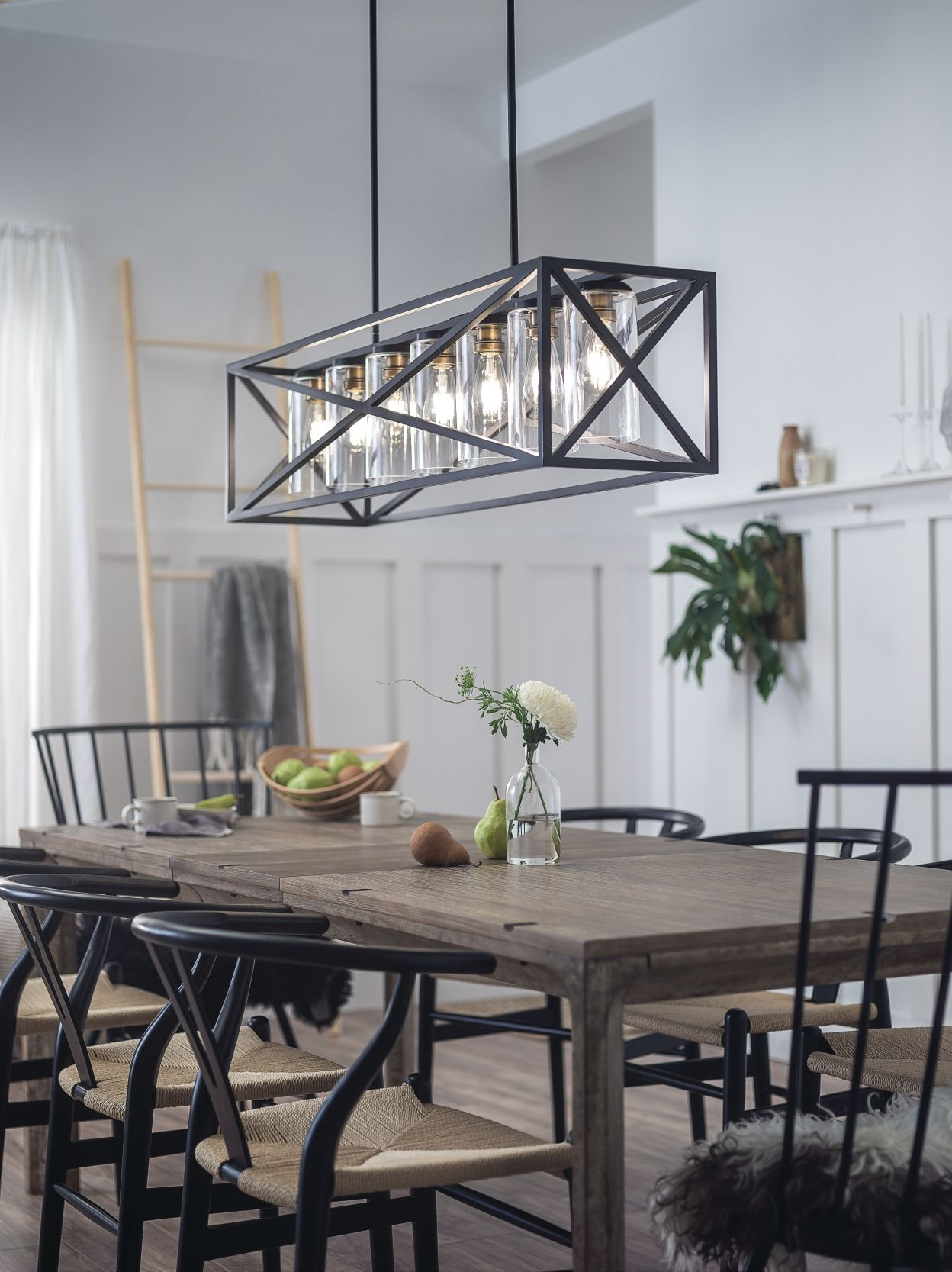 Kichler Moorgate Linear Chandelier 7 Light In Black In 2019 Pertaining To Freemont 5 Light Kitchen Island Linear Chandeliers (View 21 of 30)