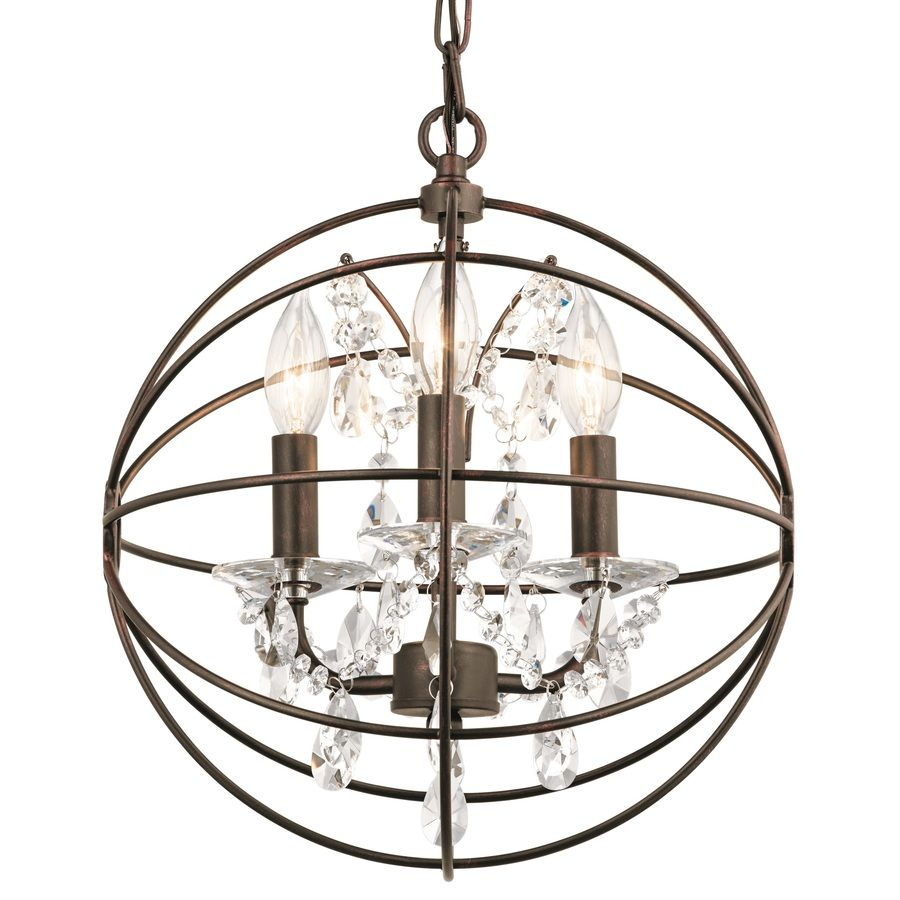 Kichler Vivian 13 In Coffee With Copper Highlights Crystal Within Alden 3 Light Single Globe Pendants (Photo 25 of 30)