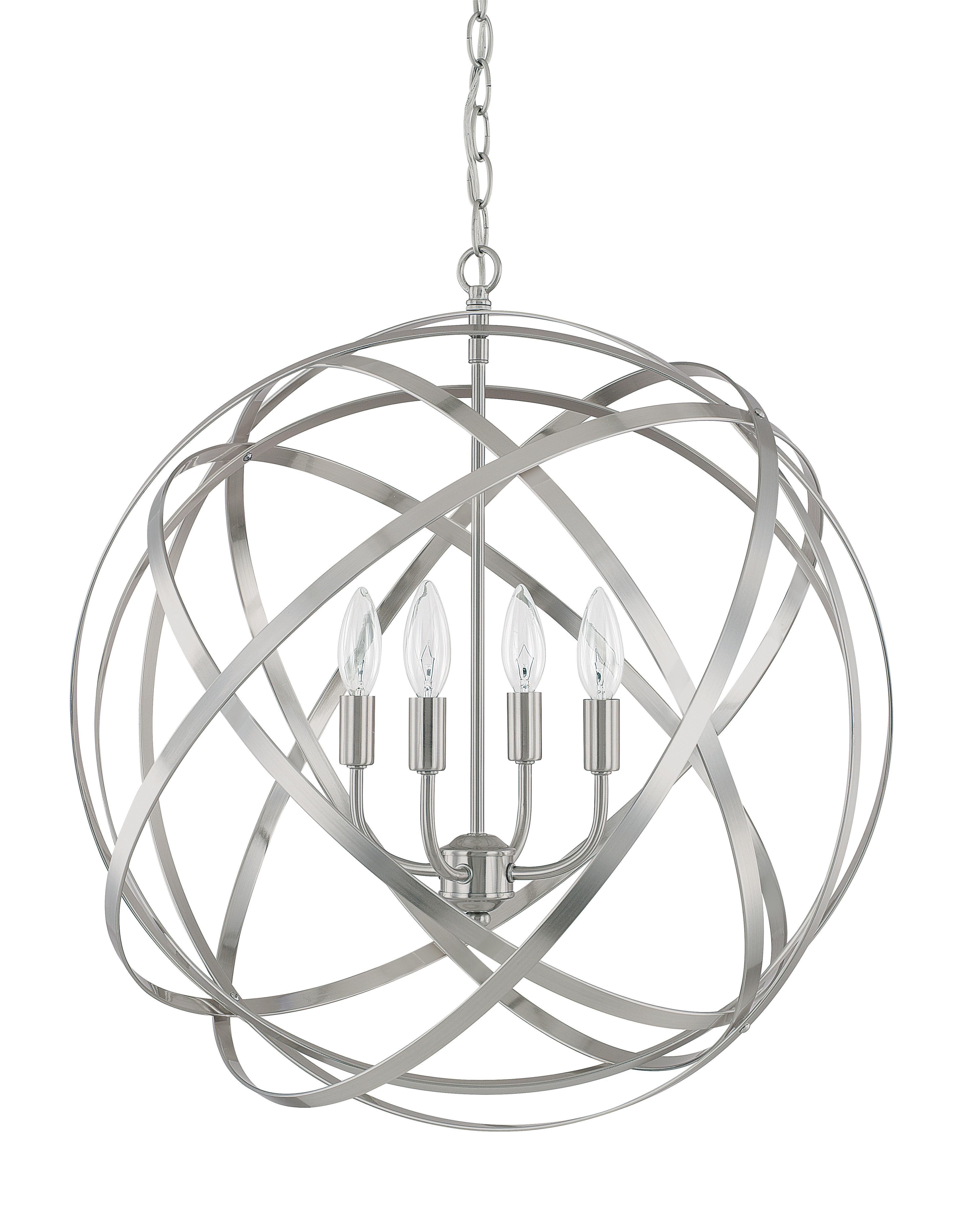Kierra 4 Light Globe Pendant With Adcock 3 Light Single Globe Pendants (Photo 19 of 30)