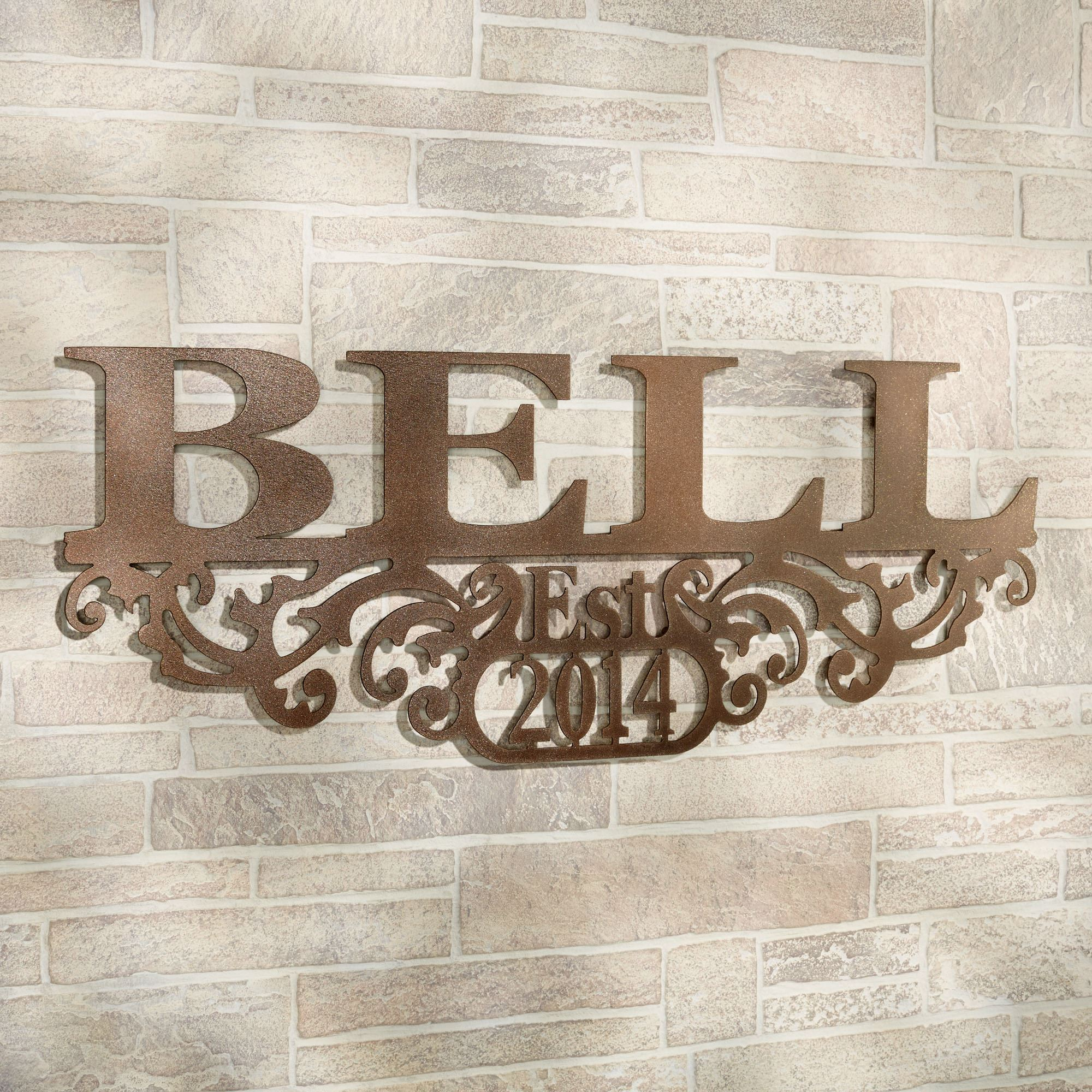 Kinship Bronze Family Name And Year Personalized Metal Wall Art Sign within Belle Circular Scroll Wall Decor (Image 13 of 30)