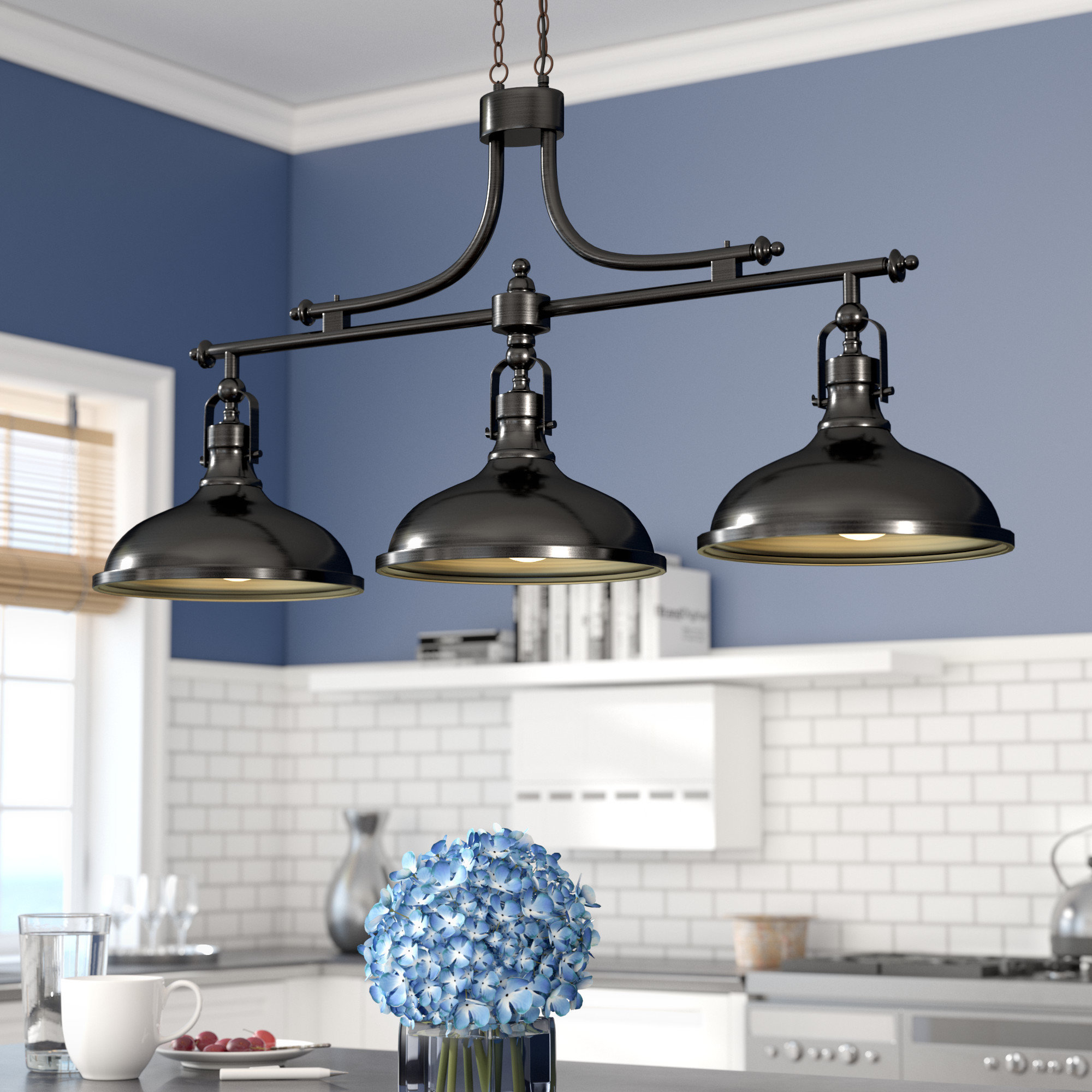 Kitchen Island Pendant Lighting Fixtures   Gnubies Pertaining To Ariel 2 Light Kitchen Island Dome Pendants (Photo 7 of 30)