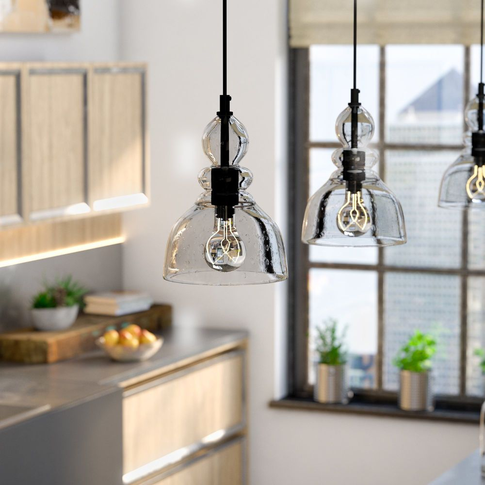 Kitchen Pendant Light Bell Glass Clear Retro Industrial Within Fresno Dome 1 Light Bell Pendants (Photo 17 of 30)