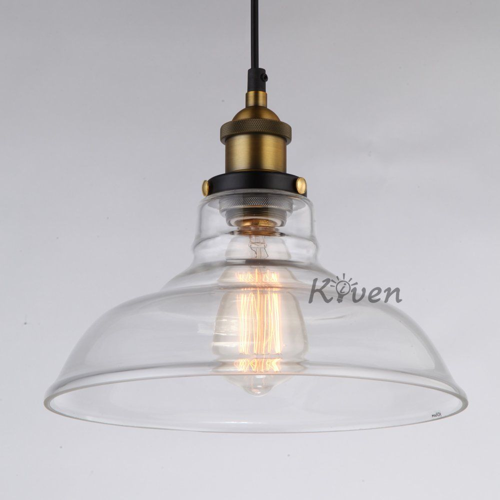 Kiven® Vintage Industrial 1 Light Glass Bowl Of Vintage Inside Vintage Edison 1 Light Bowl Pendants (Photo 8 of 30)