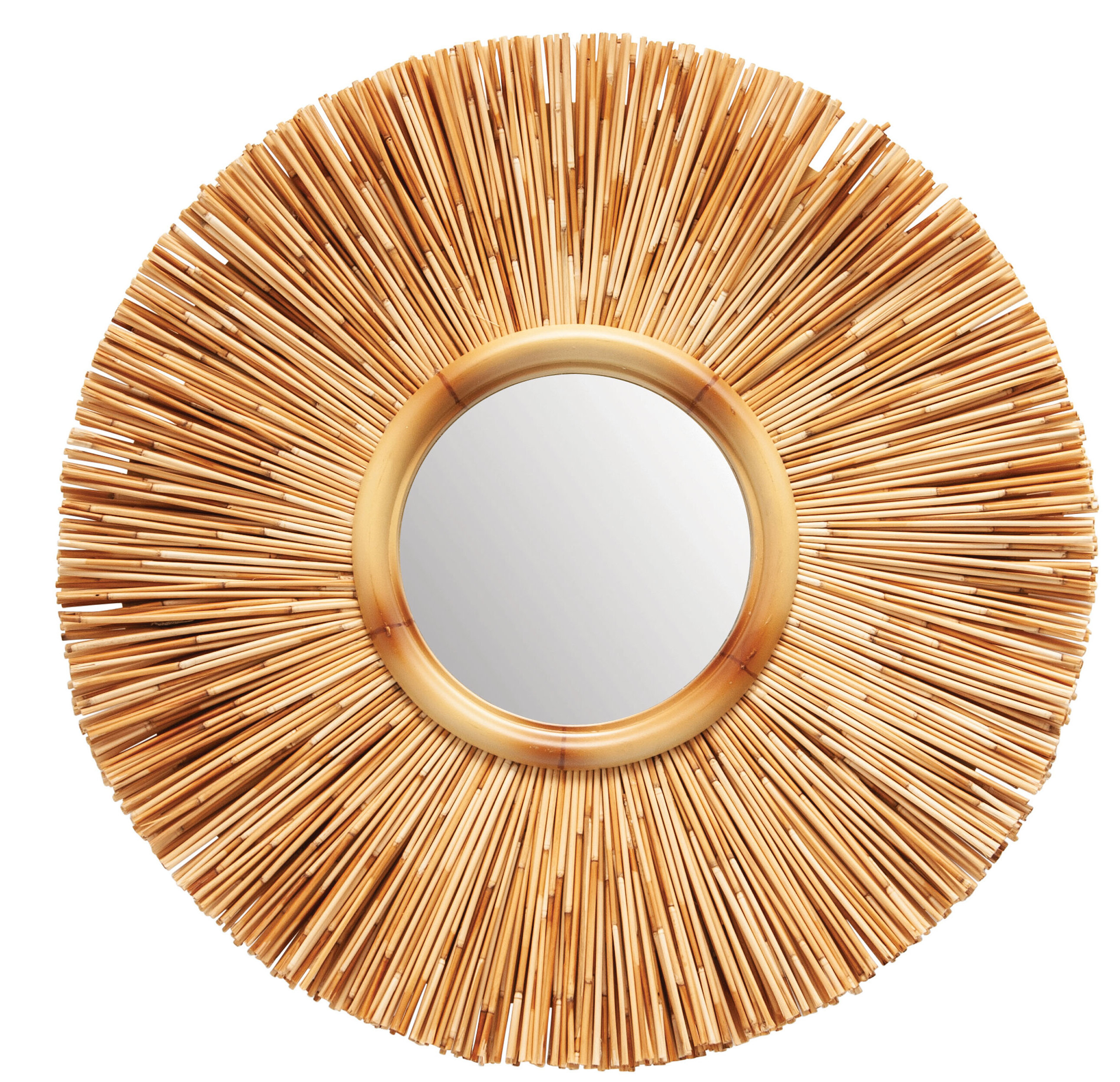 Kluesner Round Reed Cottage Wall Mirror Regarding Glam Beveled Accent Mirrors (Photo 21 of 30)