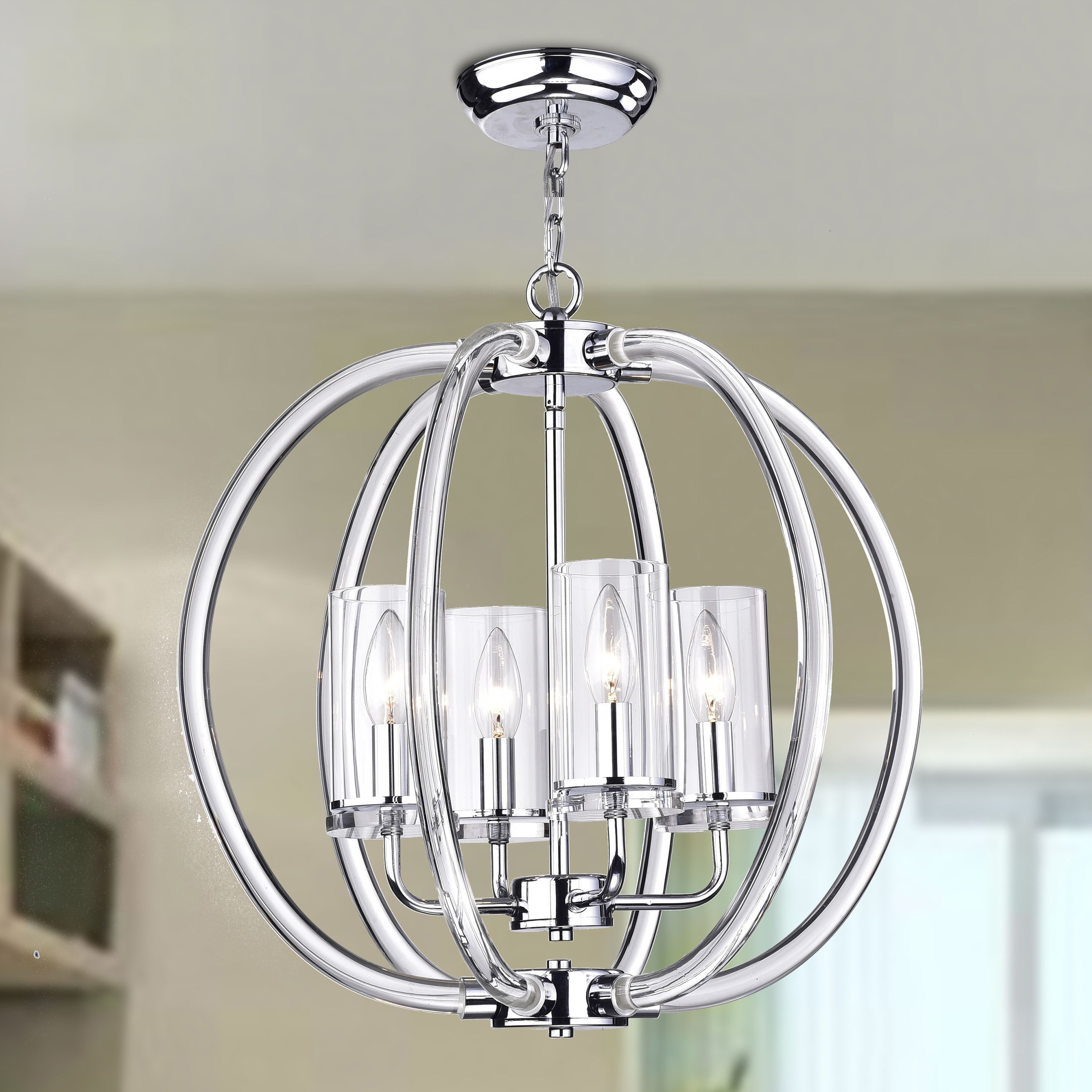 Kong Enya 4 Light Semi Flush Mount (Chrome), Silver (Crystal With Regard To Hendry 4 Light Globe Chandeliers (Photo 9 of 30)