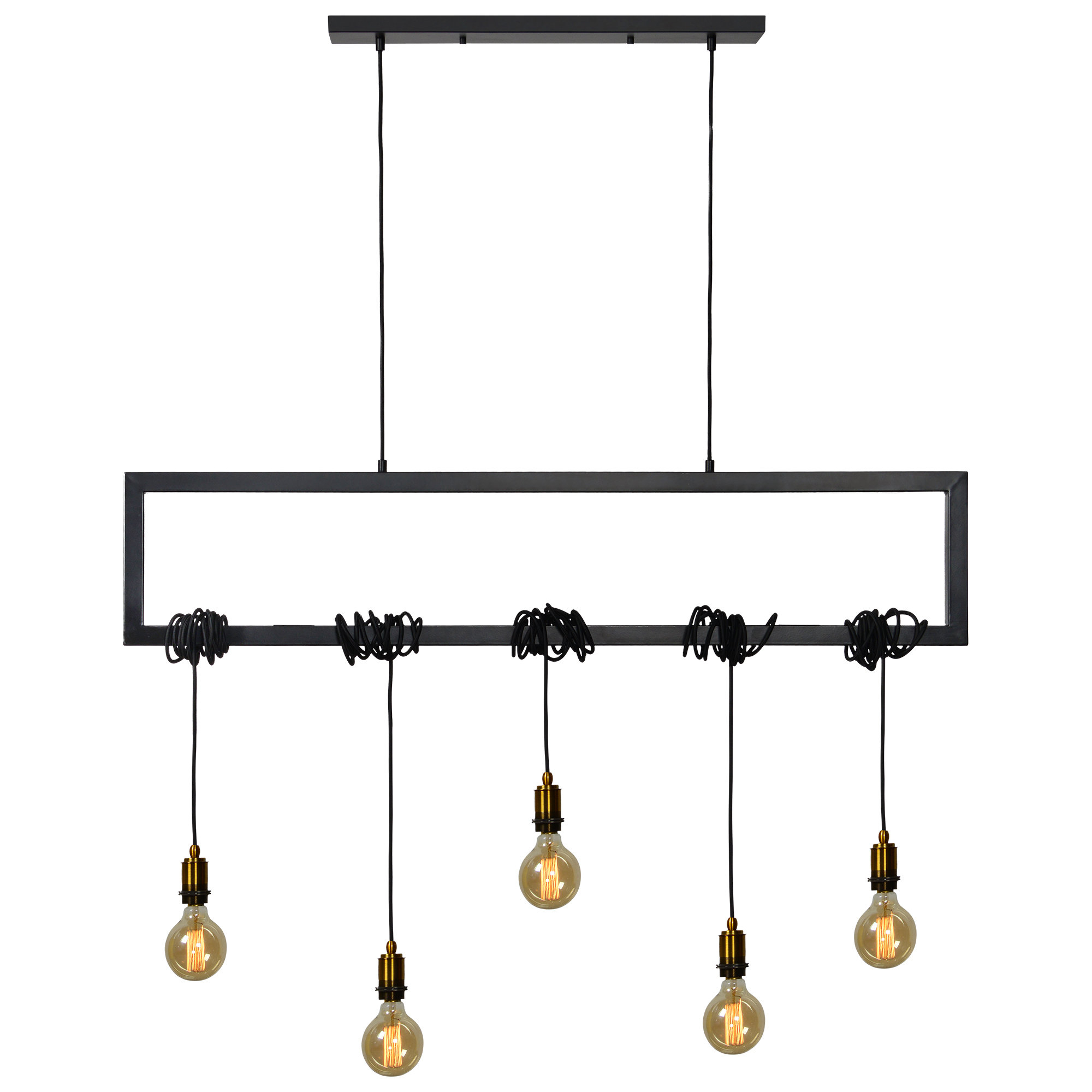 Kratika 5 Light Kitchen Island Linear Pendant Throughout Ariel 2 Light Kitchen Island Dome Pendants (Photo 9 of 30)