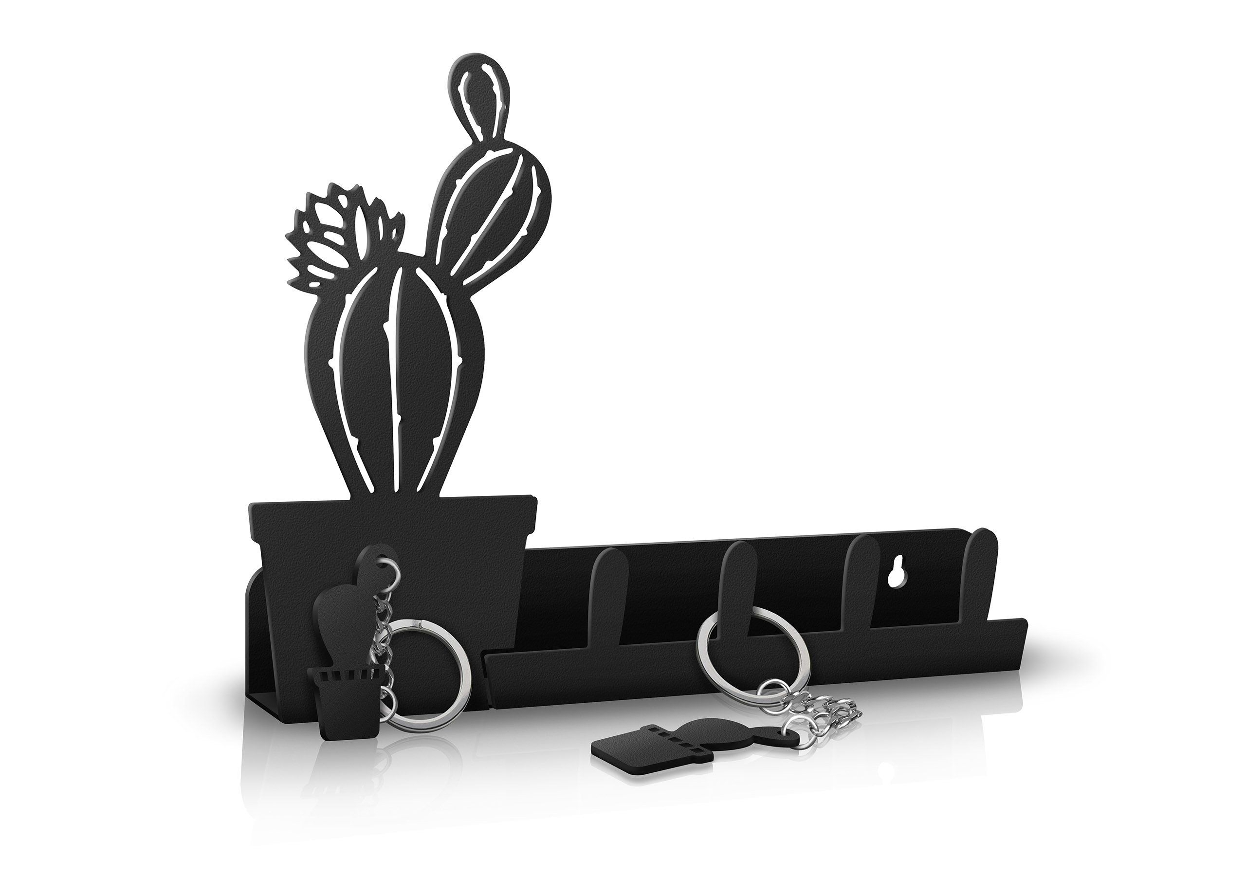 Kukupua Cactus Wall Key Holder Mail Organizer Decorative Key With Black Metal Key Wall Decor (Photo 19 of 30)