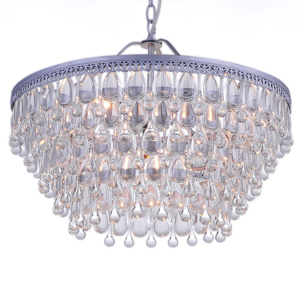 L965-Wf-455) Wesley Crystal 6-Light Chandelier - Jojospring with Mcknight 9-Light Chandeliers (Image 18 of 30)