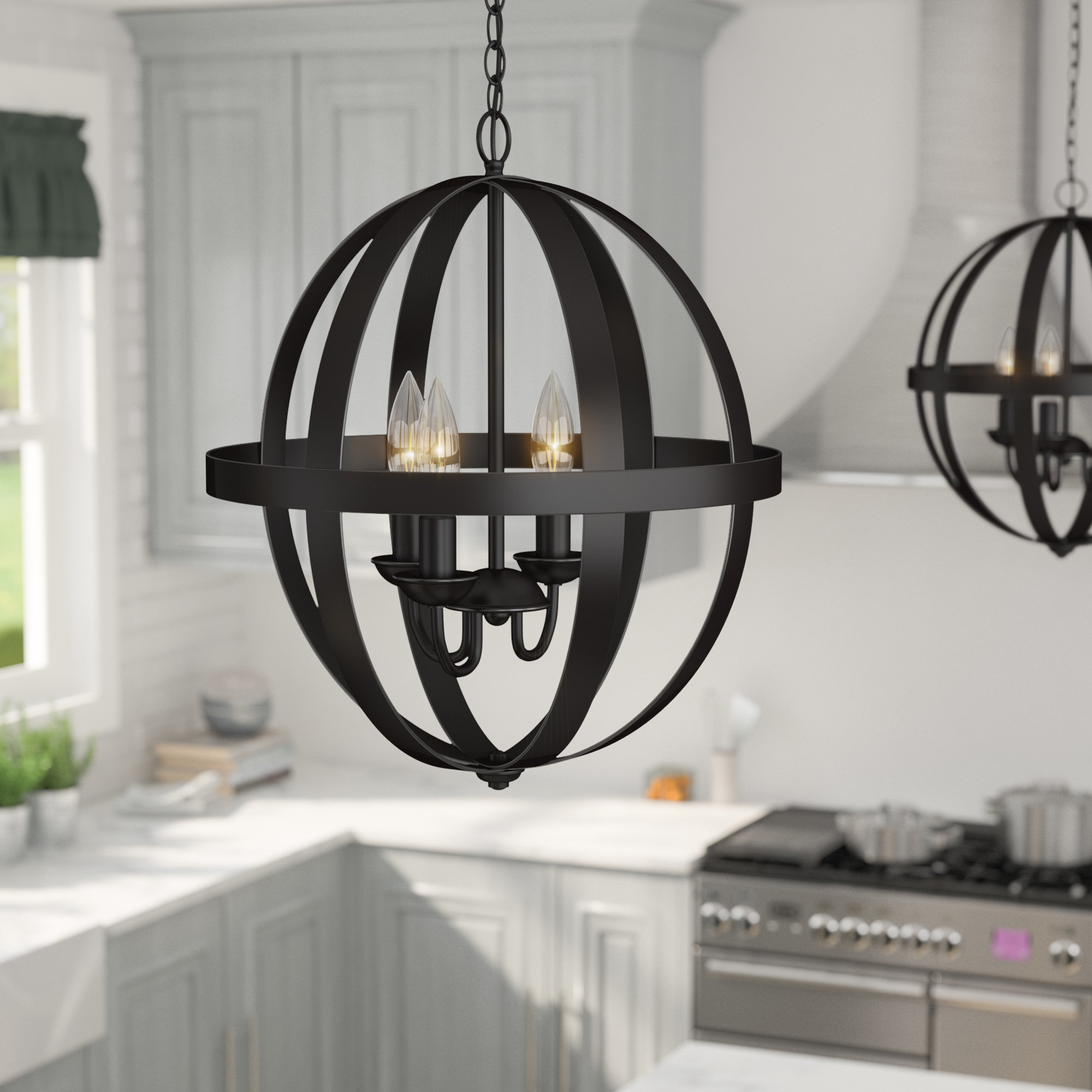 La Barge 3-Light Globe Chandelier regarding Joon 6-Light Globe Chandeliers (Image 19 of 30)