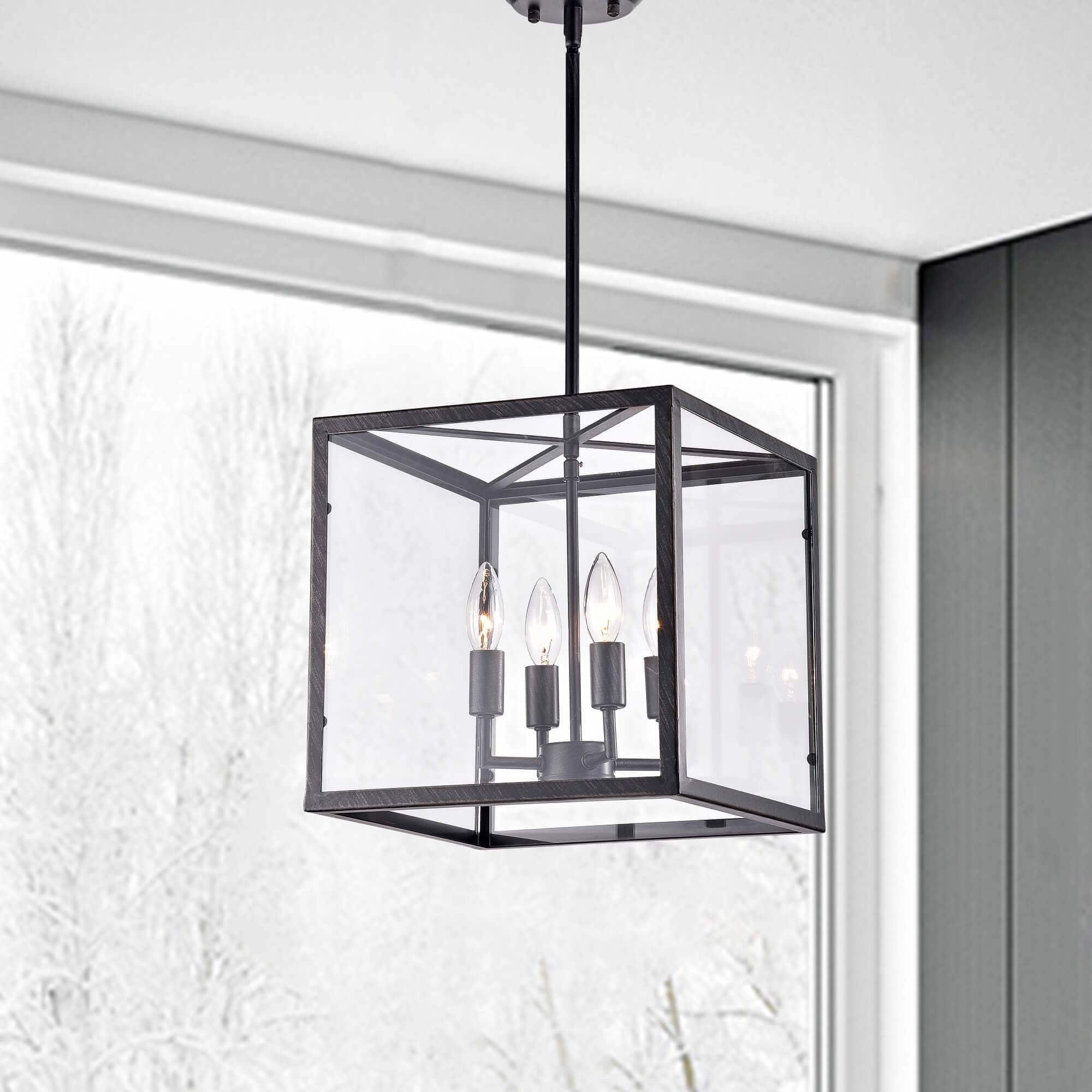 La Pedriza Antique Black 4 Light Square Cage Chandelier With Ellenton 4 Light Rectangle Chandeliers (View 18 of 30)