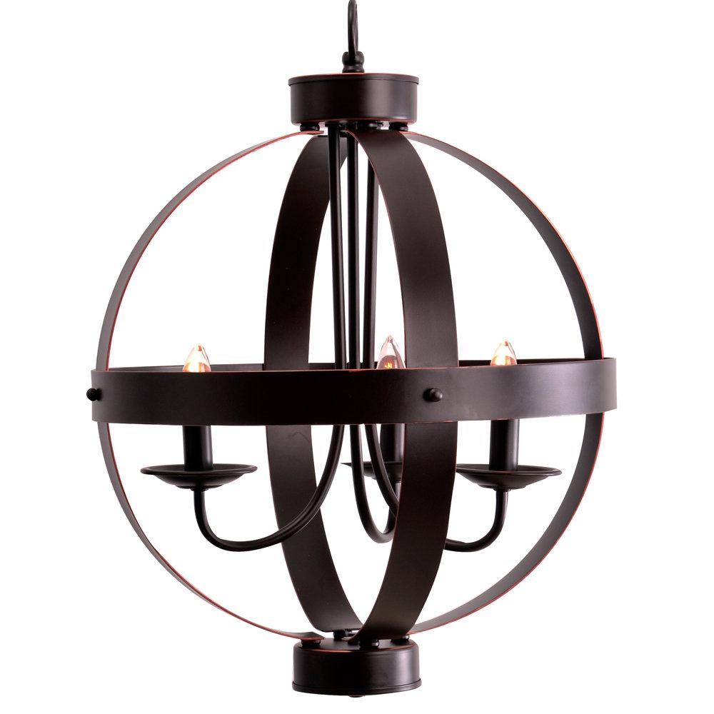 La Sarre 3 Light Globe Chandelier Regarding La Sarre 3 Light Globe Chandeliers (View 2 of 30)