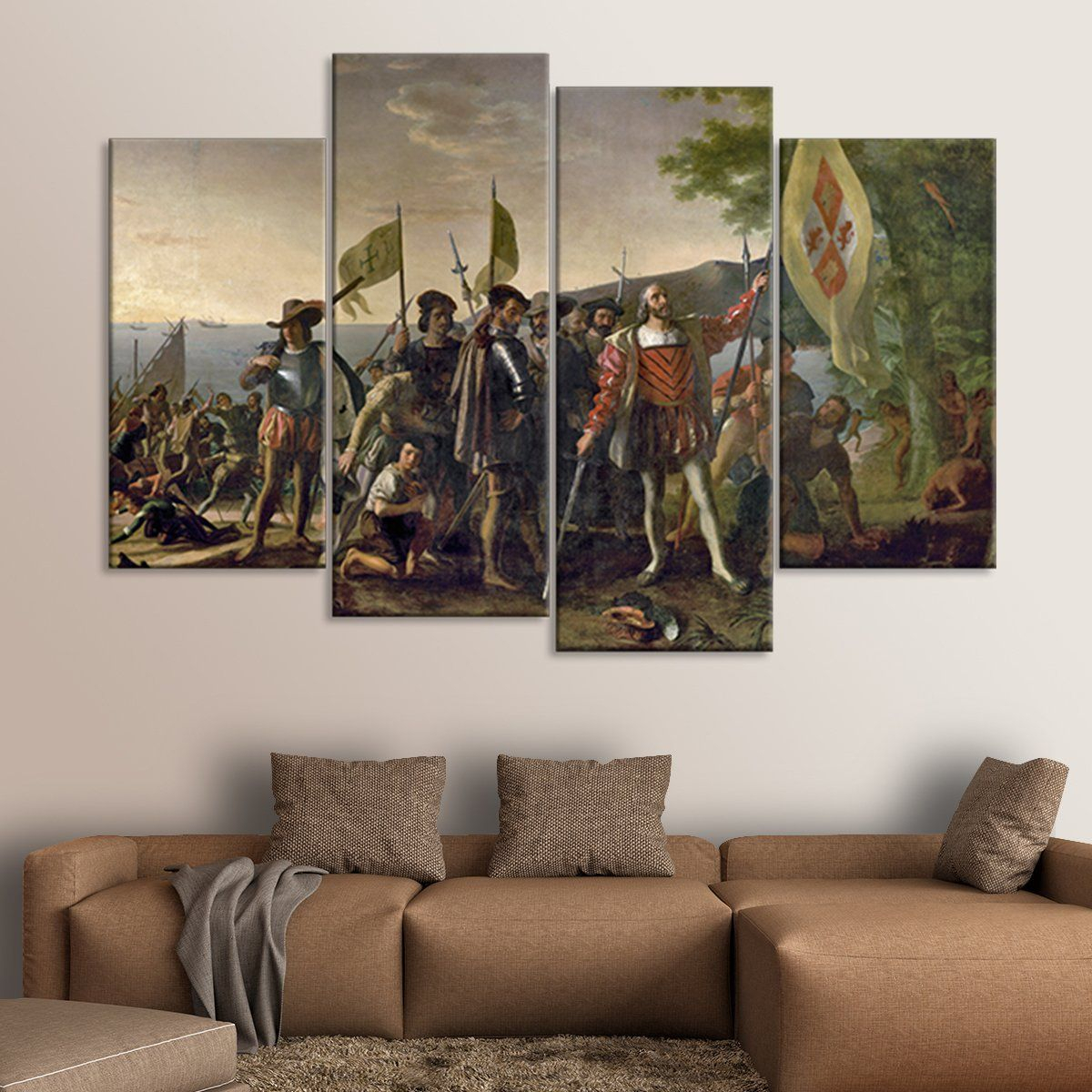Landing Of Christopher Columbus Multi Panel Canvas Wall Art Intended For Landing Art Wall Decor (View 10 of 30)