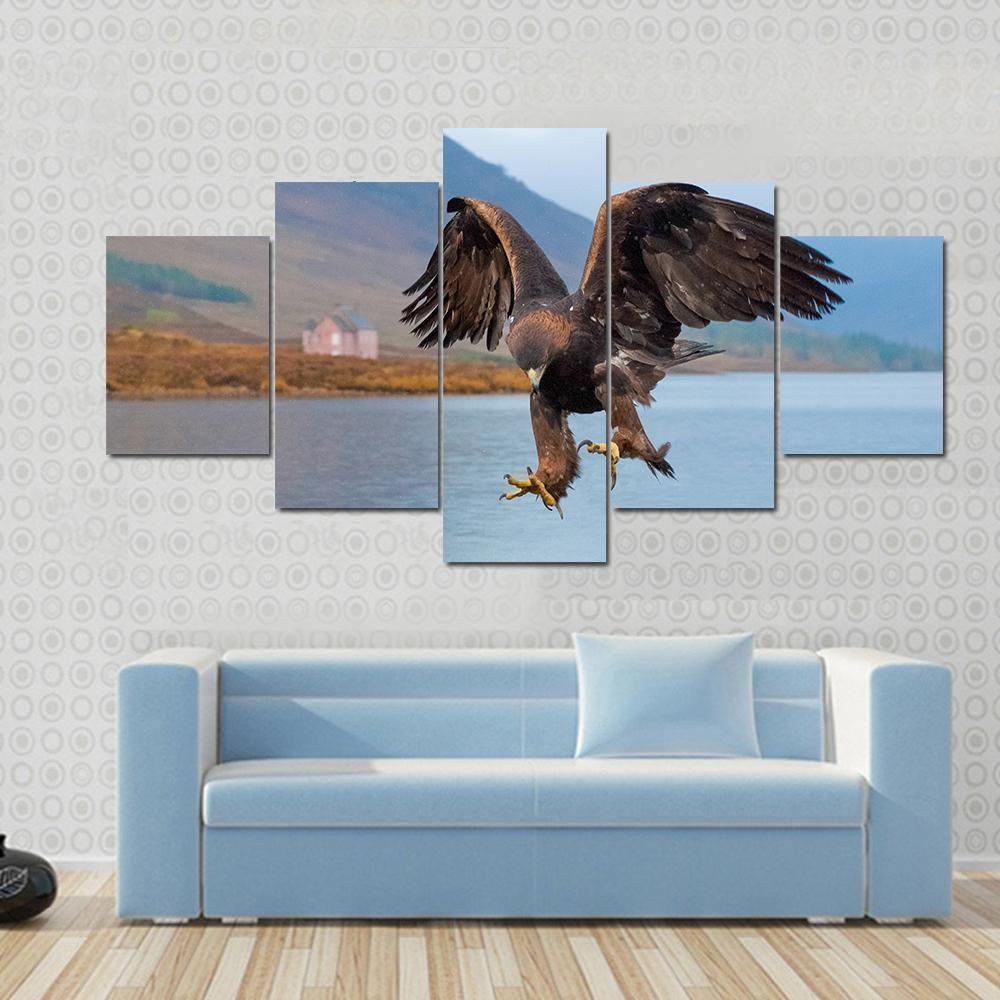 Landing Of Golden Eagle Animal Canvas Wall Art In 2019 regarding Landing Art Wall Decor (Image 15 of 30)