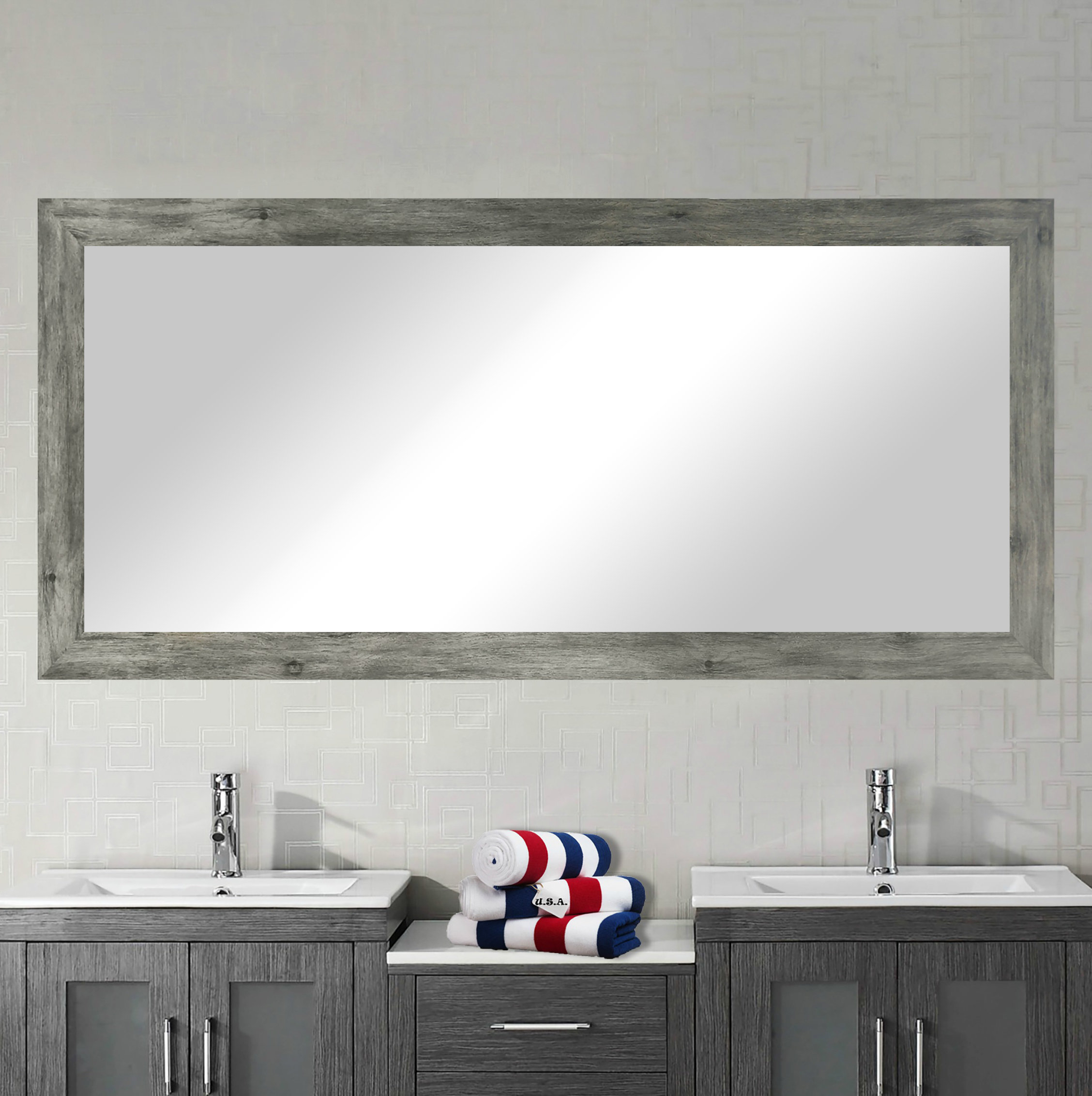 Popular Photo of Landover Rustic Distressed Bathroom/vanity Mirrors