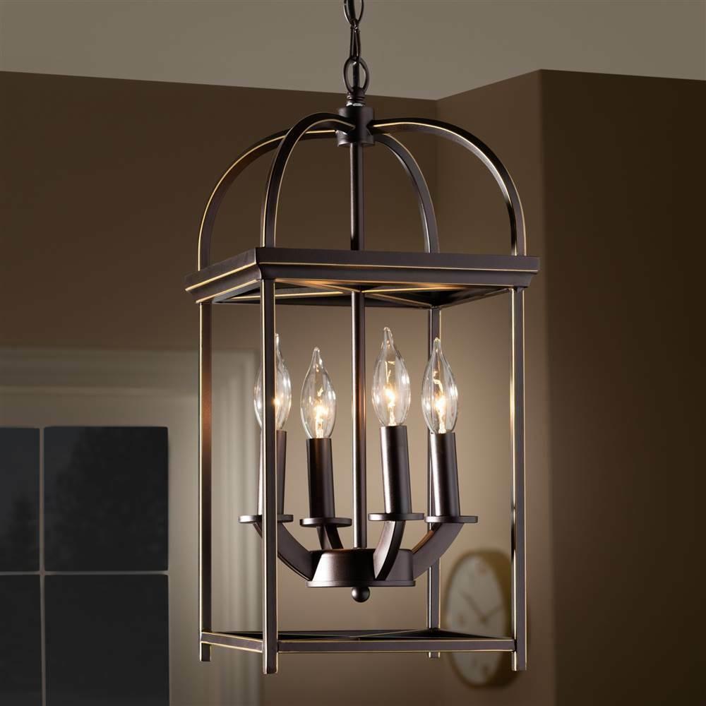 Lantern 4-Light Pendant Bronze Dark In Light F0357Mzob53309 in Odie 4-Light Lantern Square Pendants (Image 12 of 30)