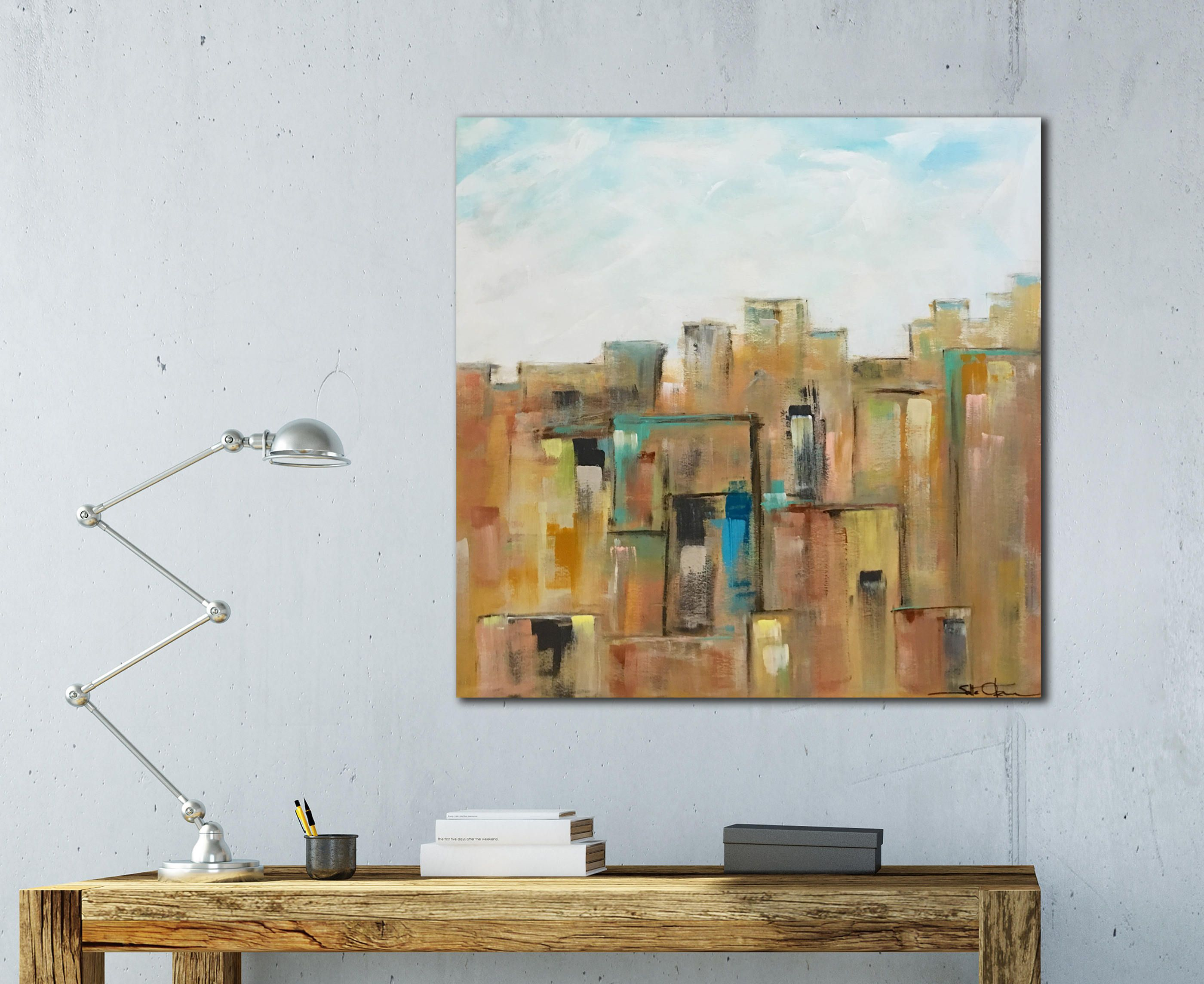 Large Abstract Art, Wood Wall Art, City Skyline, New York in Large Modern Industrial Wall Decor (Image 12 of 30)