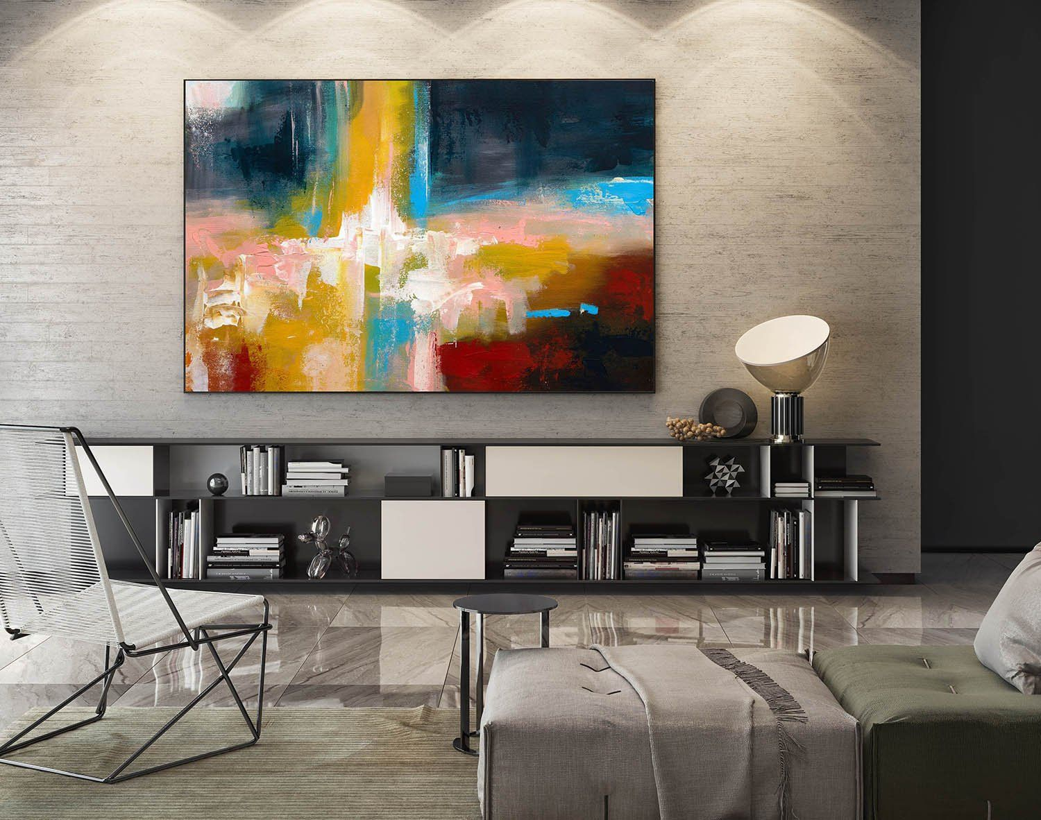 Large Abstract Painting,modern Abstract Painting,oil Hand regarding Large Modern Industrial Wall Decor (Image 13 of 30)