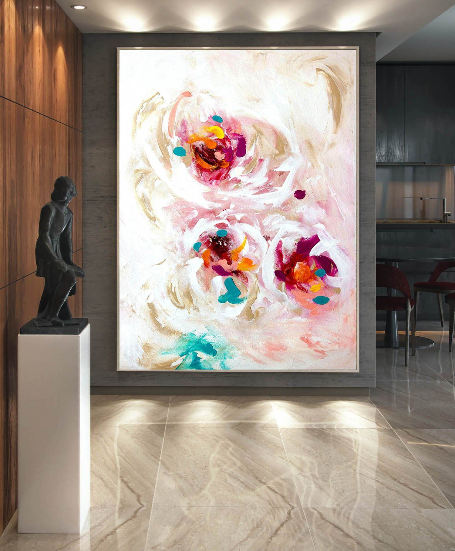 Large Abstract Painting,modern Abstract Painting,oil Hand throughout Large Modern Industrial Wall Decor (Image 14 of 30)
