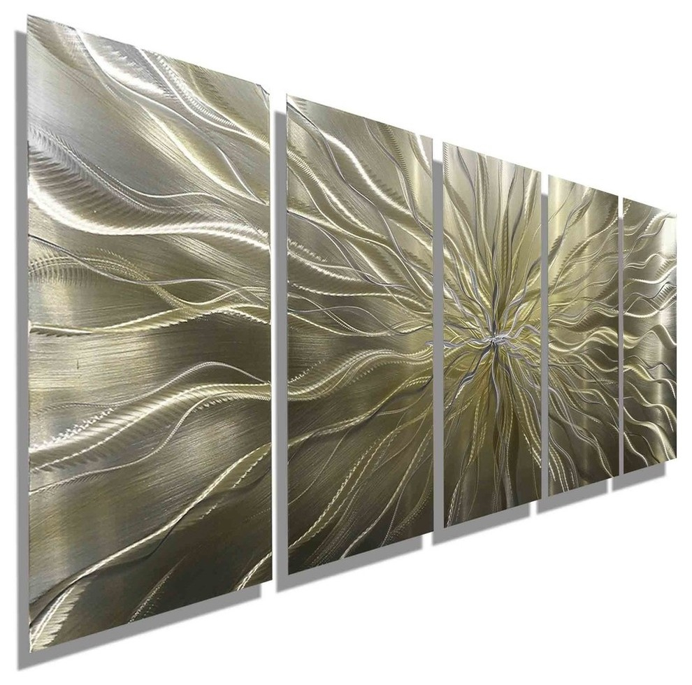 """Large Abstract Silver And Gold Hand-Etched Modern Art Metal Wall Decor,  """"axiom"""" inside Set of 3 Contemporary 6, 9, and 11 Inch Gold Tin Starburst Sculptures (Image 18 of 30)"""