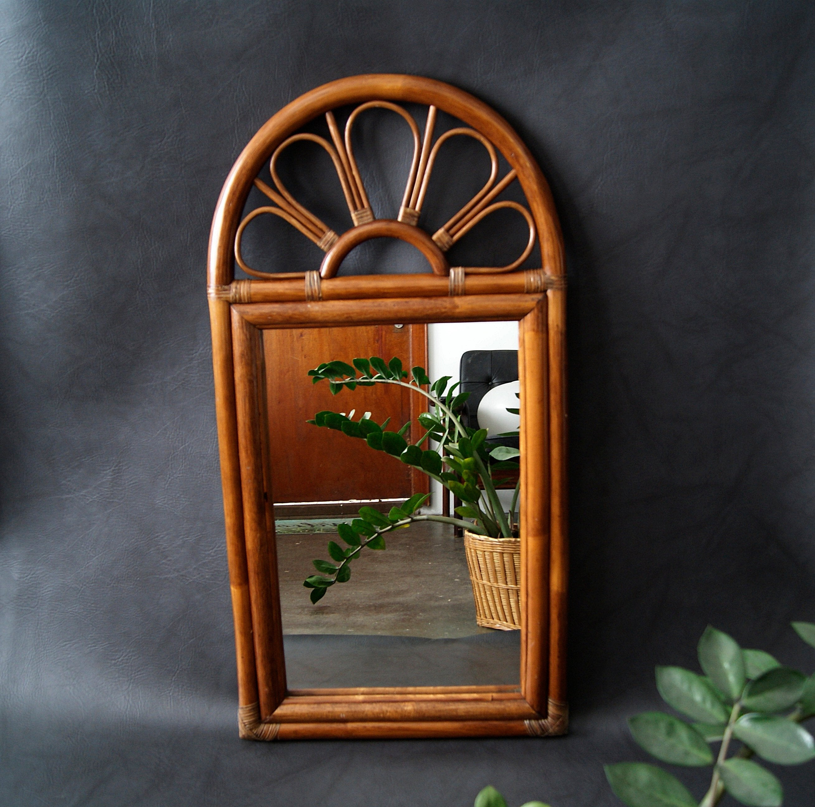 Large Bamboo Mirror, Wall Mirror, Faux Bamboo, Wood Mirror For Faux Window Wood Wall Mirrors (View 17 of 30)
