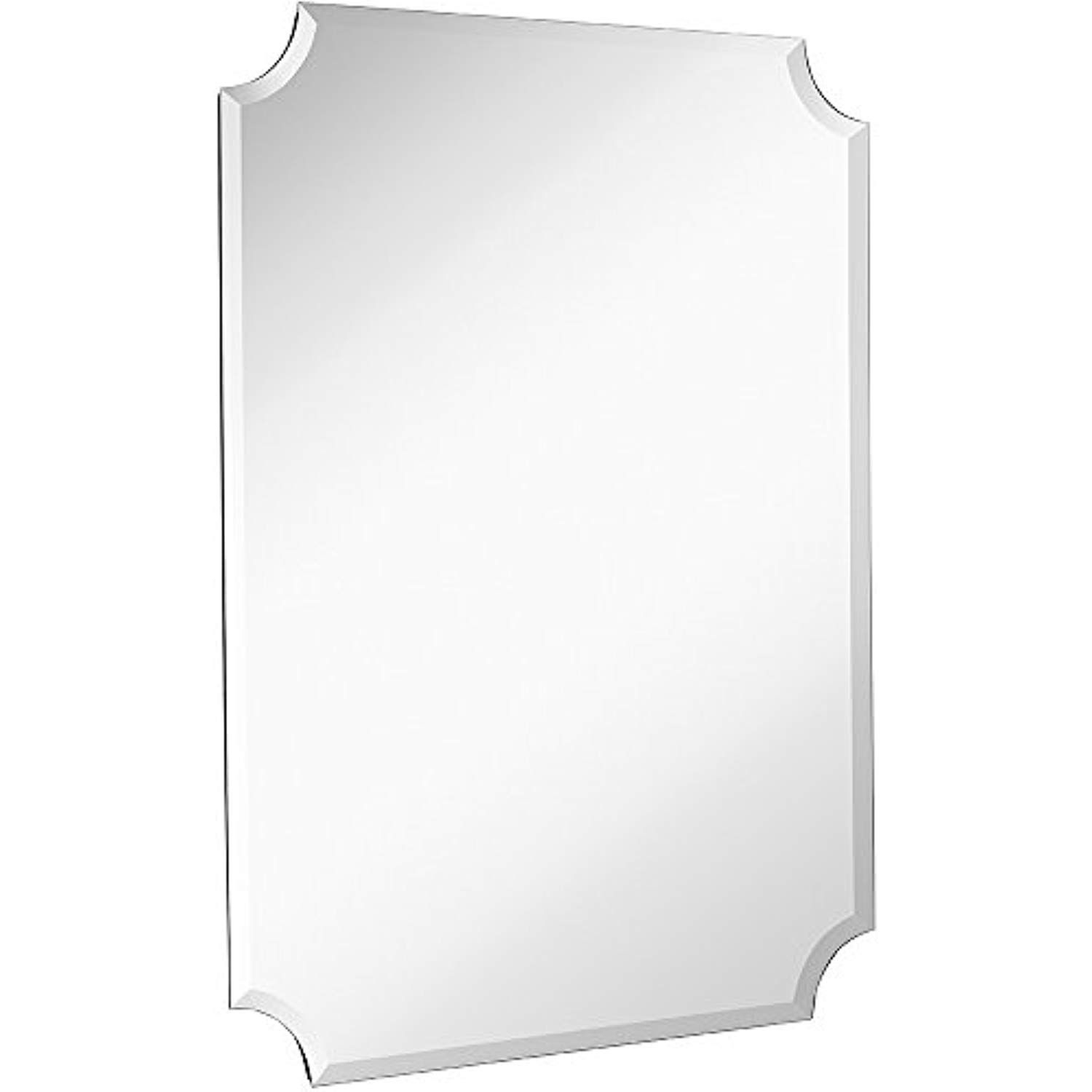 Large Beveled Scalloped Edge Rectangular Wall Mirror | 1 pertaining to Dariel Tall Arched Scalloped Wall Mirrors (Image 15 of 30)