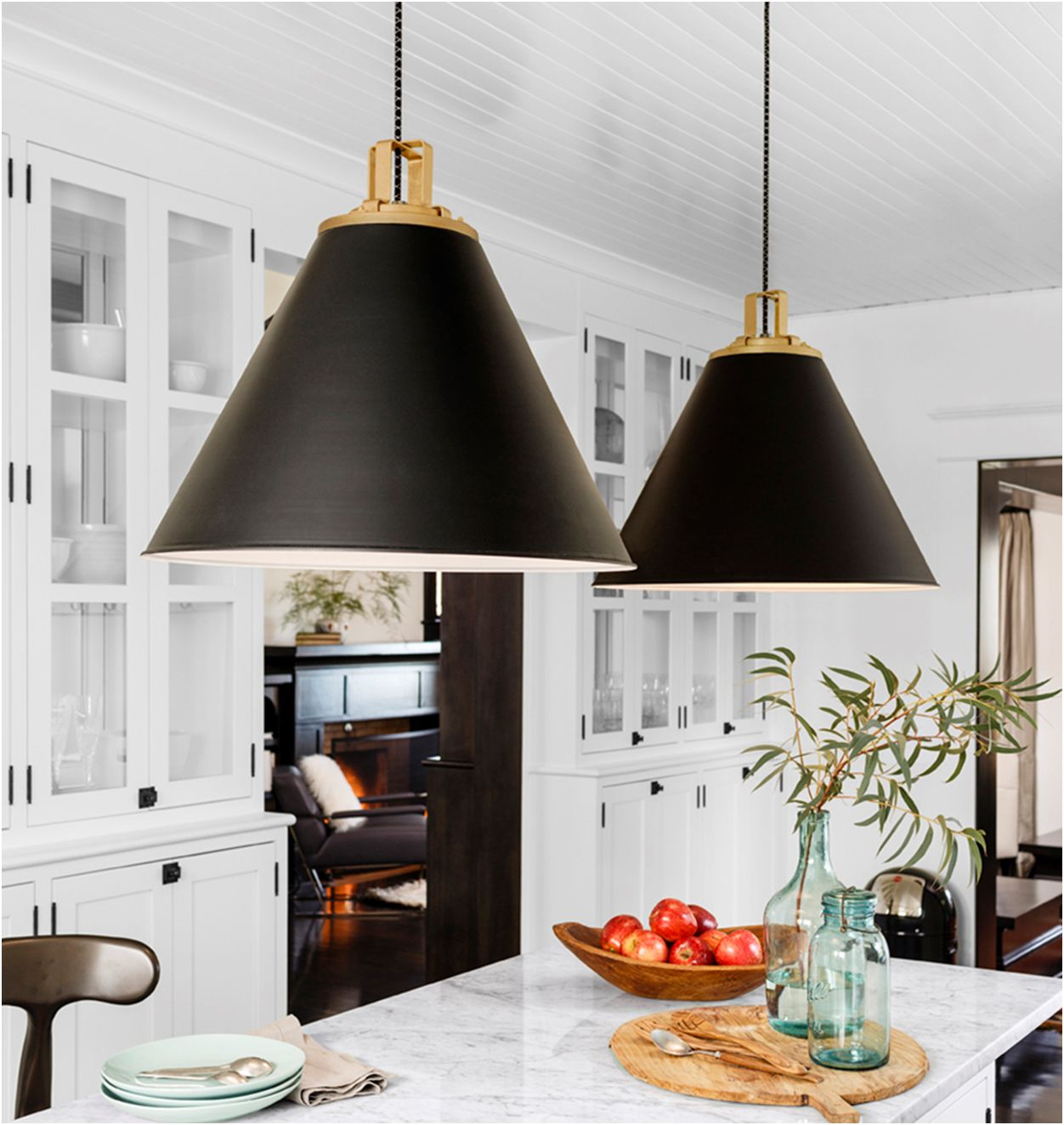 Large Black And Gold Pendant Lights Over White Marble In Nadeau 1 Light Single Cone Pendants (View 24 of 30)