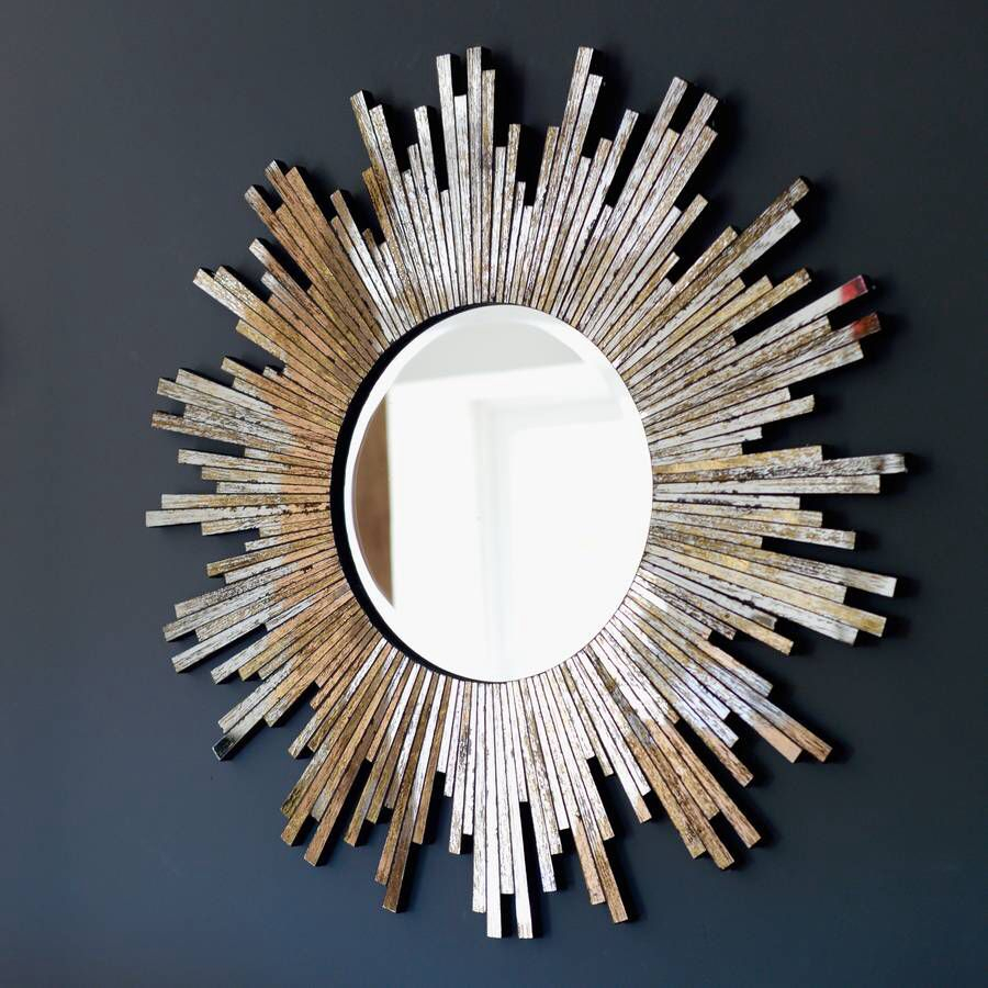 Large Burnished Sunburst Mirror | Sun Burst Mirrors (Foyer Throughout Estrela Modern Sunburst Metal Wall Mirrors (View 8 of 30)